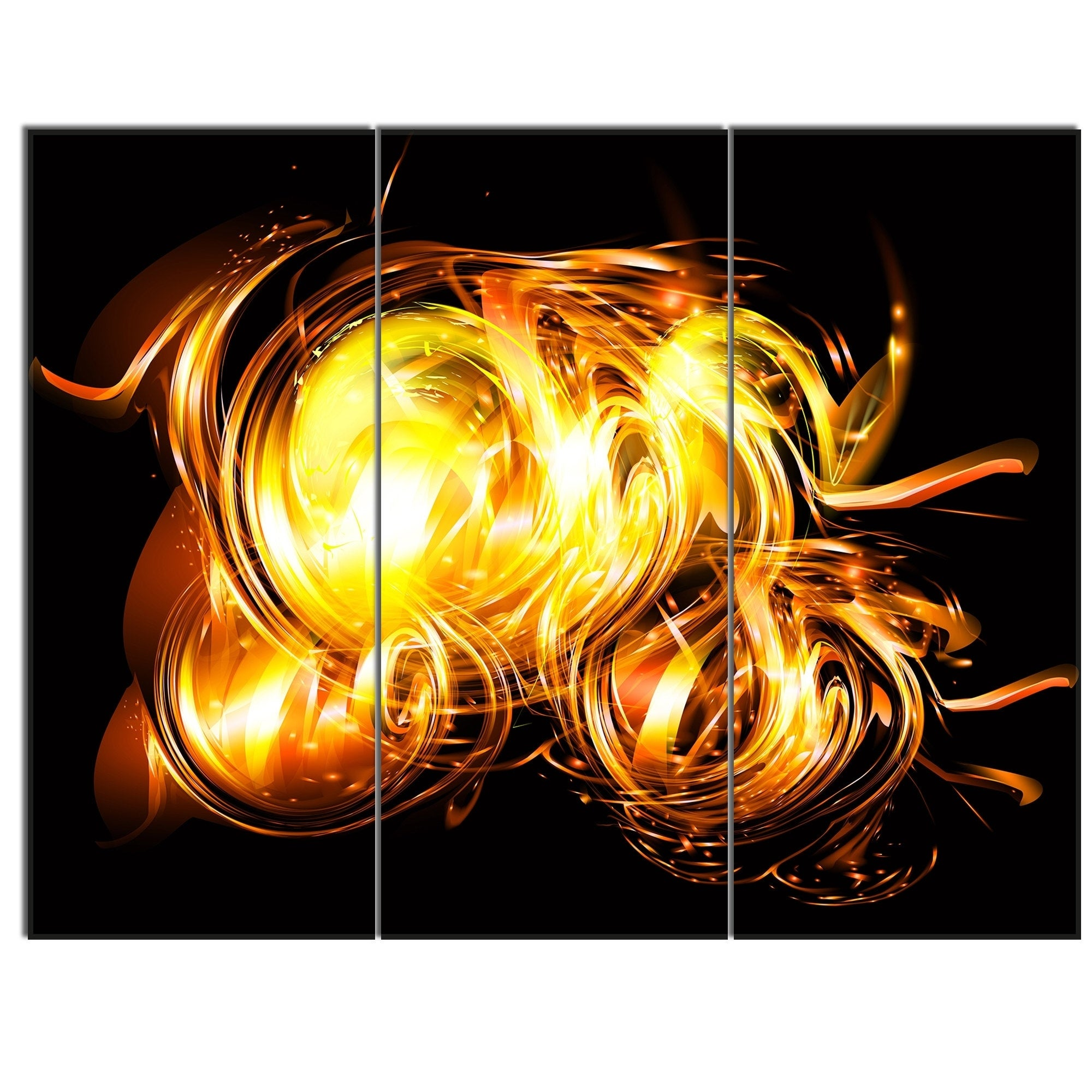 Designart \'Abstract Fractal Fire on Black\' Large Abstract Canvas ...