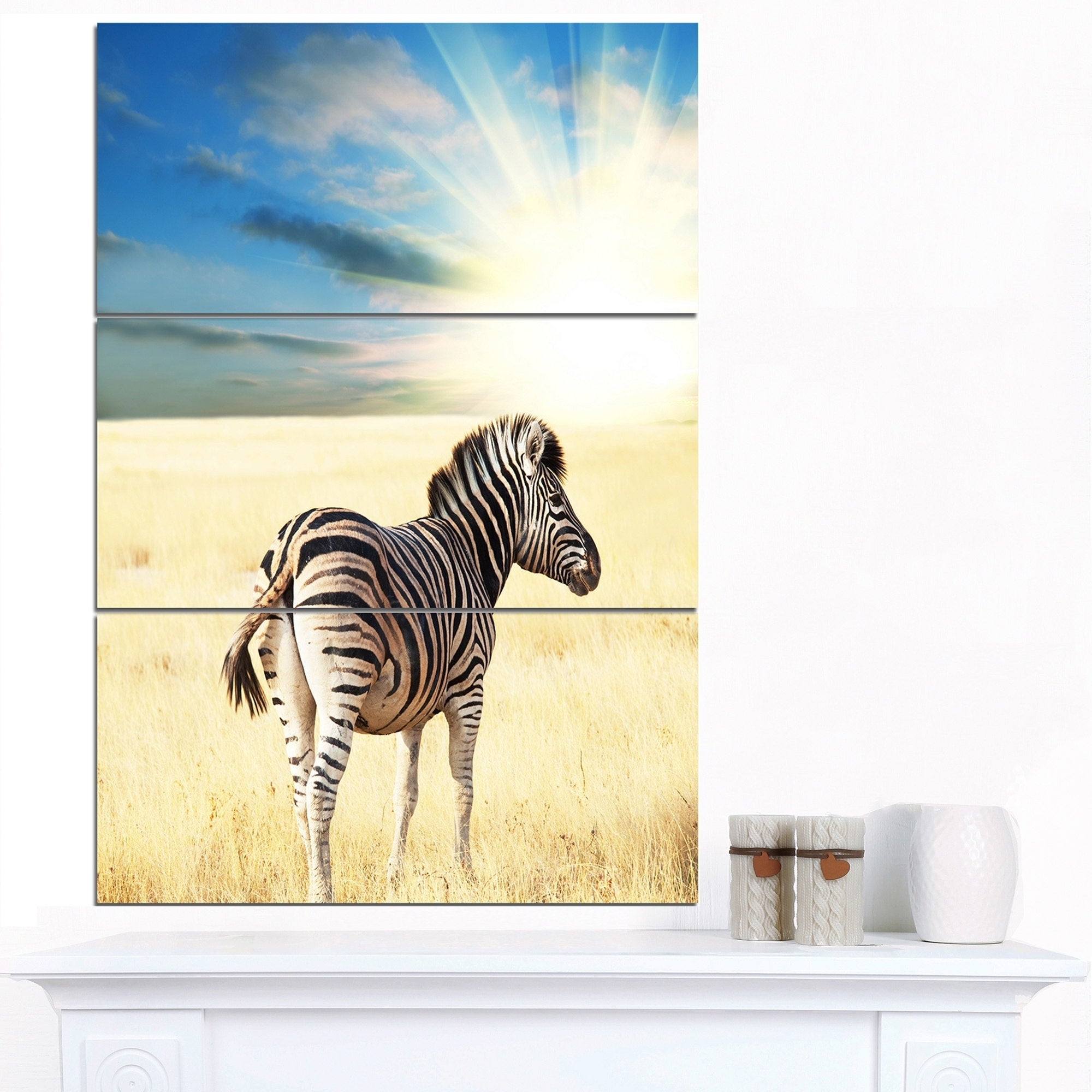 Designart \'Wandering Zebra At Bright Sunrise\' African Canvas Artwork ...