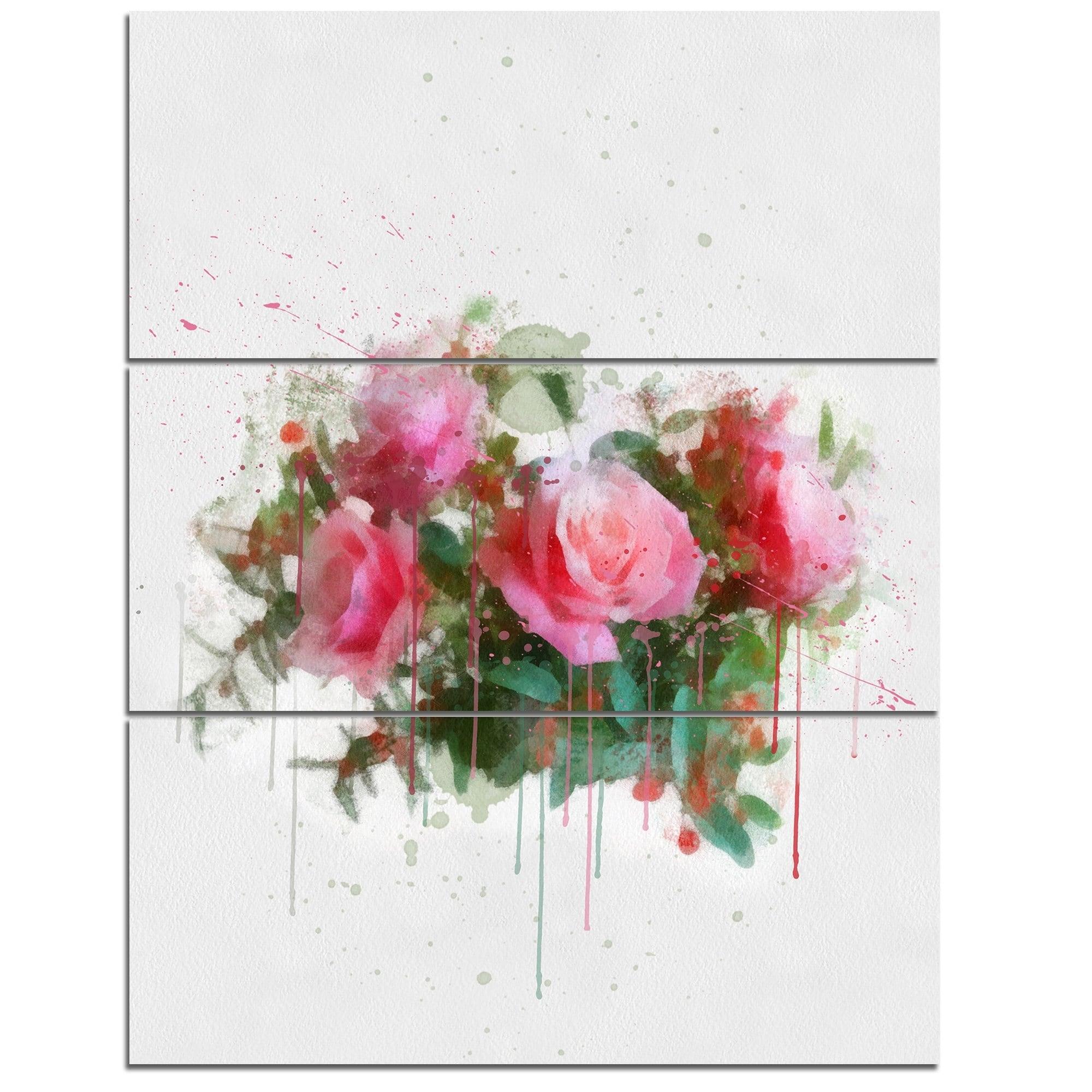 Shop Designart Bunch Of Pink Roses Watercolor Flower Artwork On