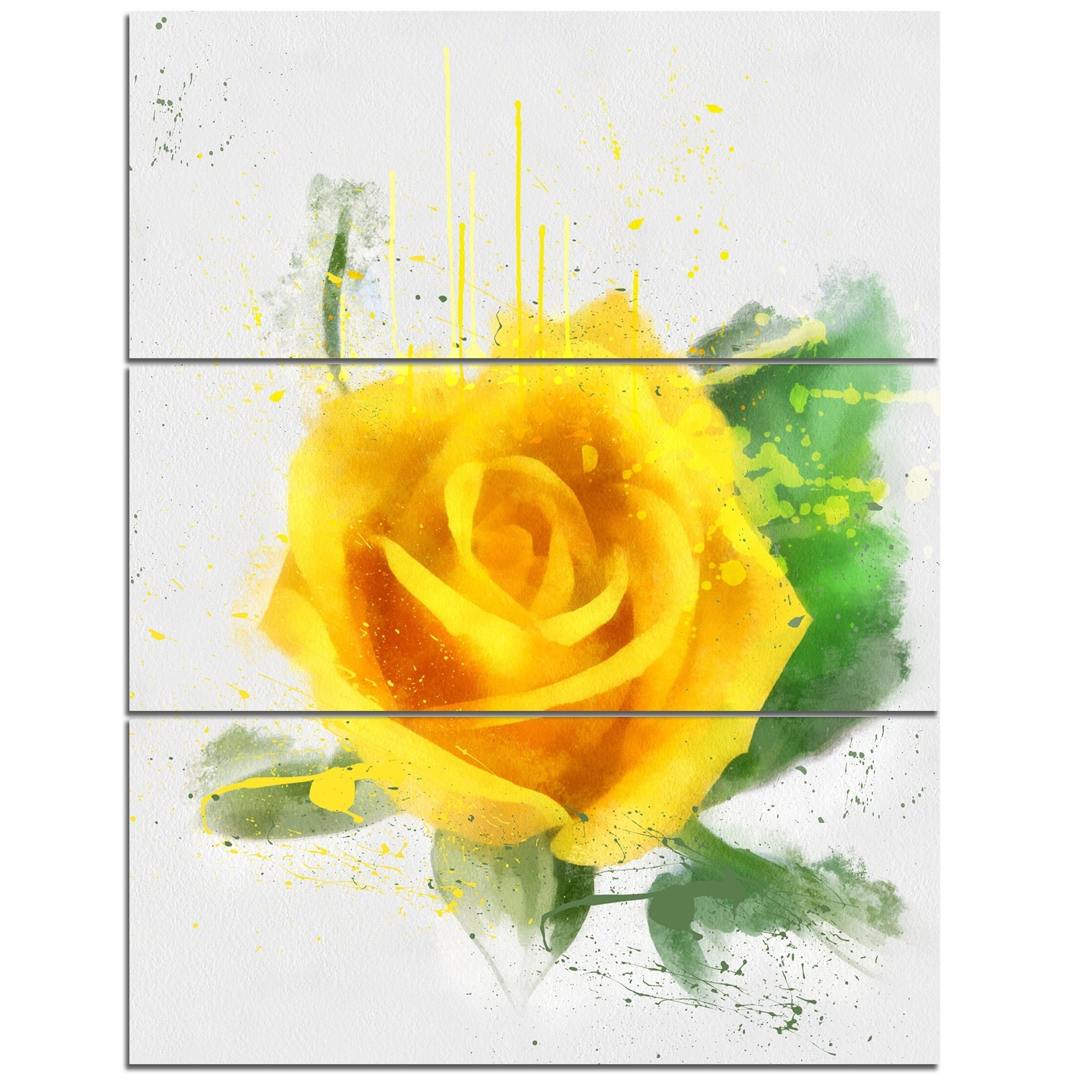 Shop Designart \'Yellow Rose with Green Leaves Sketch\' Modern Floral ...