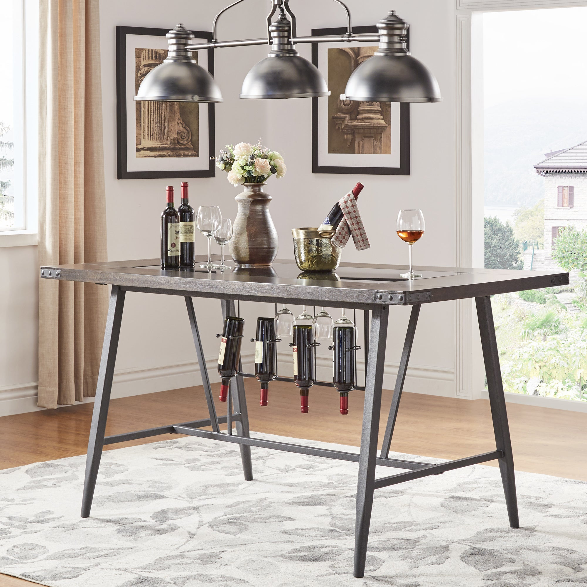 Harley Counter Height Dining Table with Wine Rack by iNSPIRE Q Modern -  Free Shipping Today - Overstock.com - 24820429
