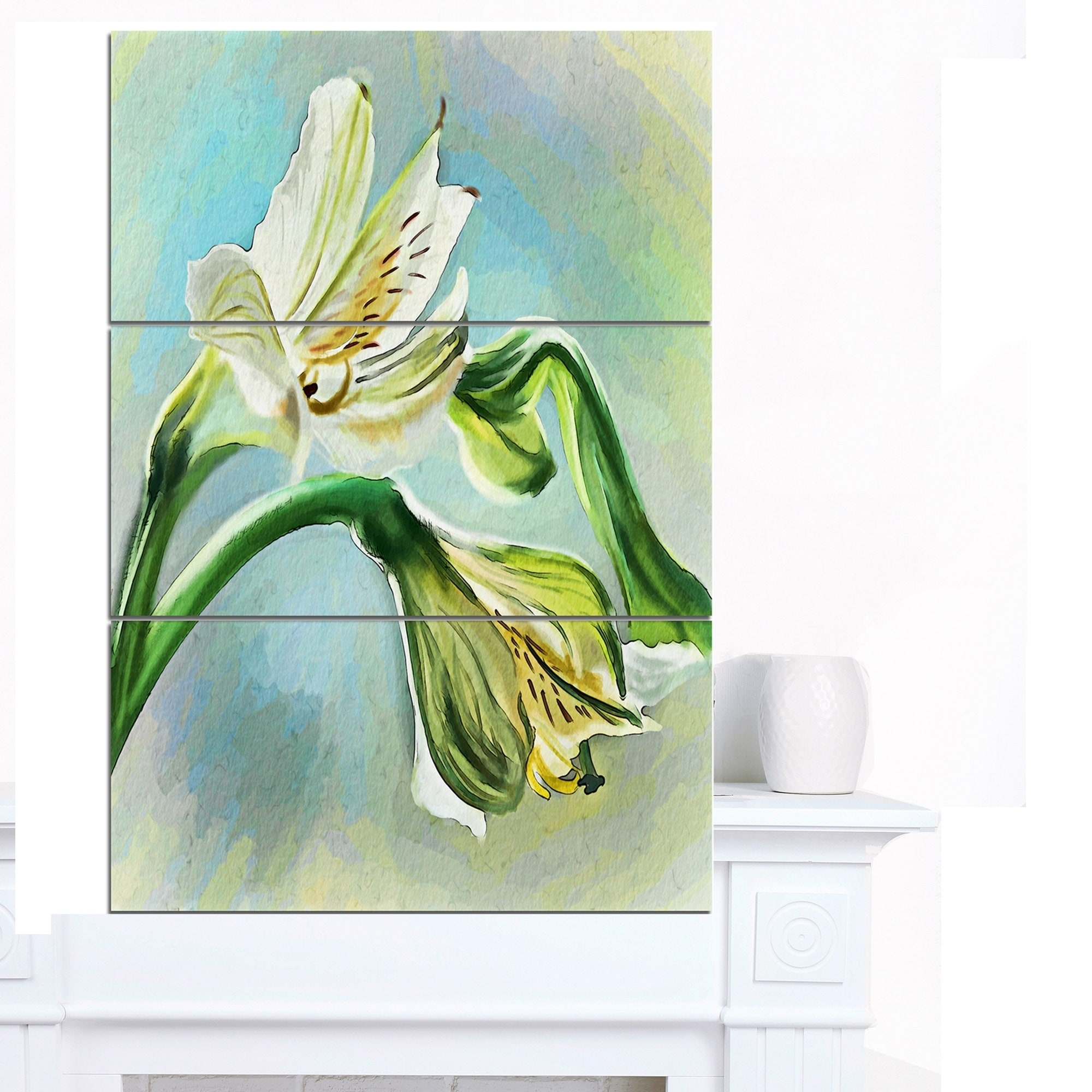 Designart White Lily Flower Sketch Watercolor Modern Floral Canvas Wall Art White Overstock 18748160