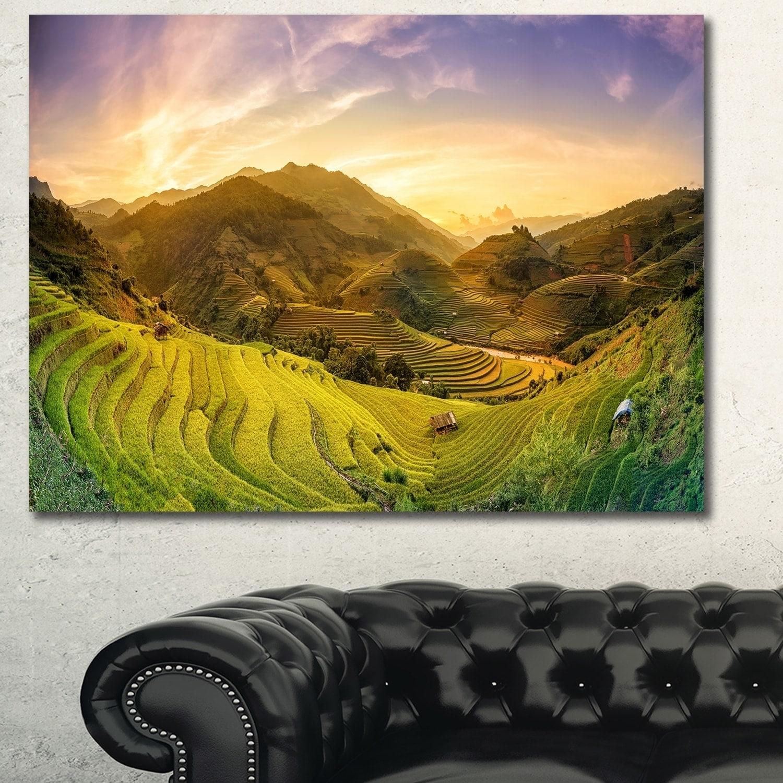 Designart \'Rice Fields on Terraced Panorama\' Landscape Canvas Wall ...