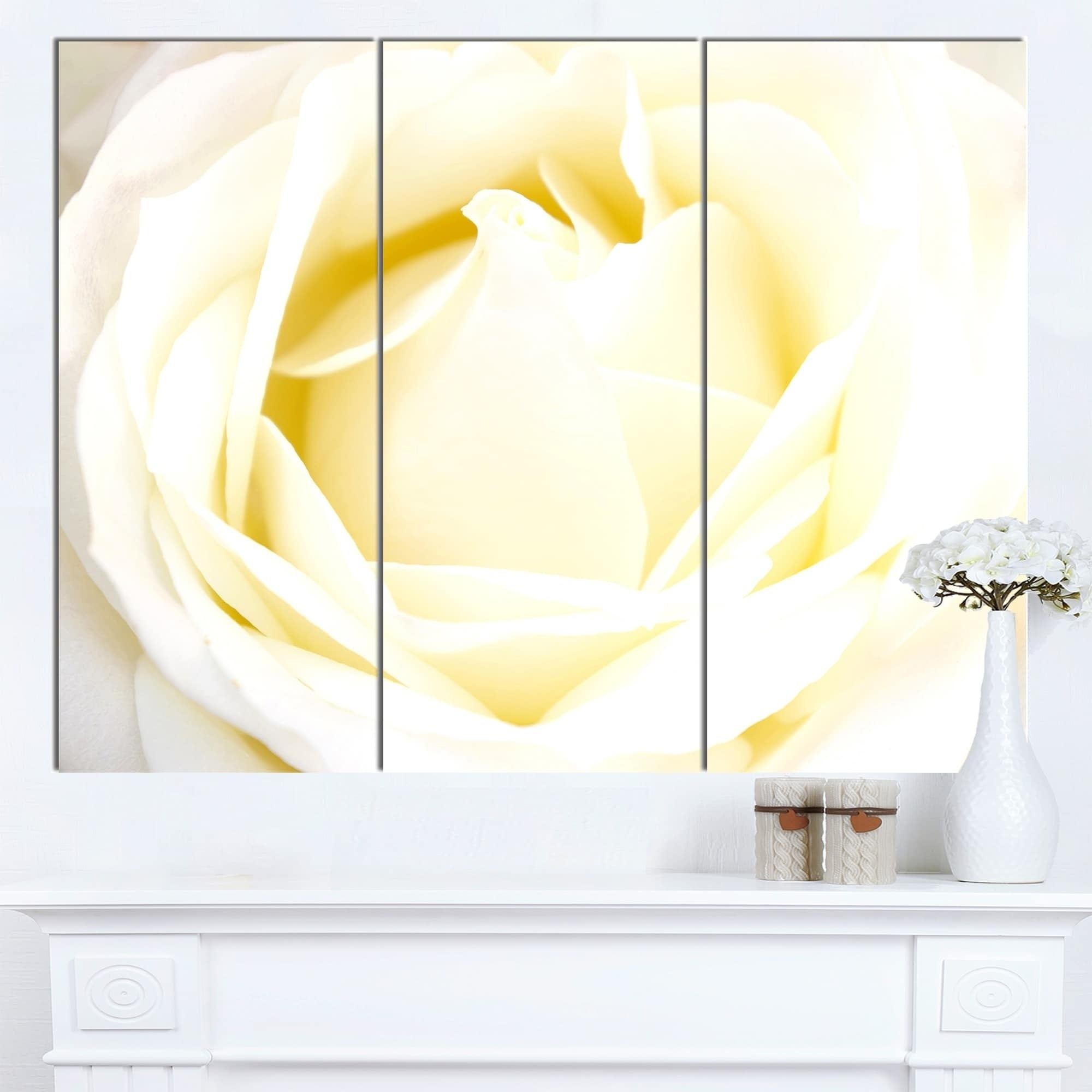 Designart \'White Rose with Close-Up Petals\' Extra Large Floral ...