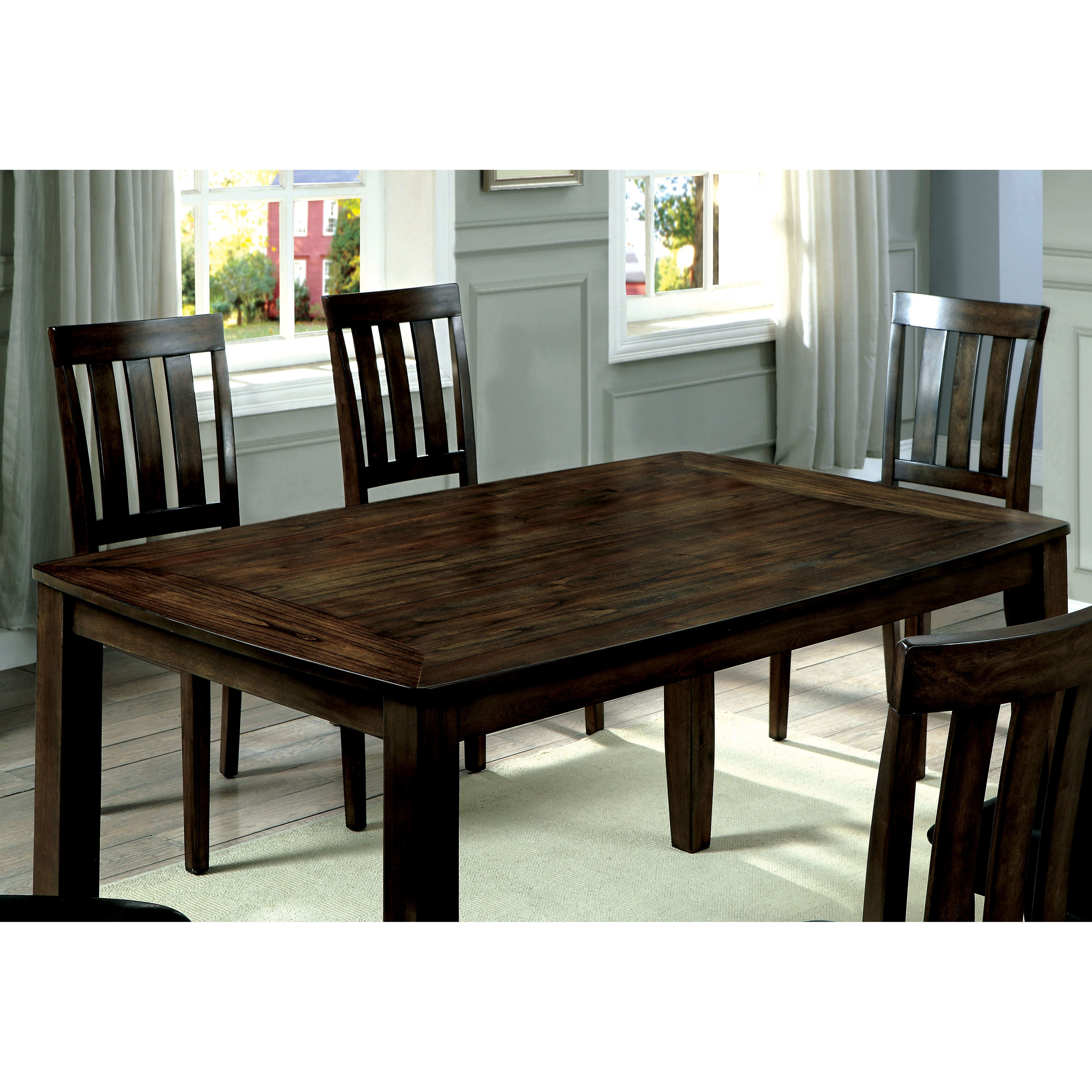 Shop Furniture Of America Merlein Rustic 7 Piece Dark Oak Dining Set   Free  Shipping Today   Overstock.com   18751093