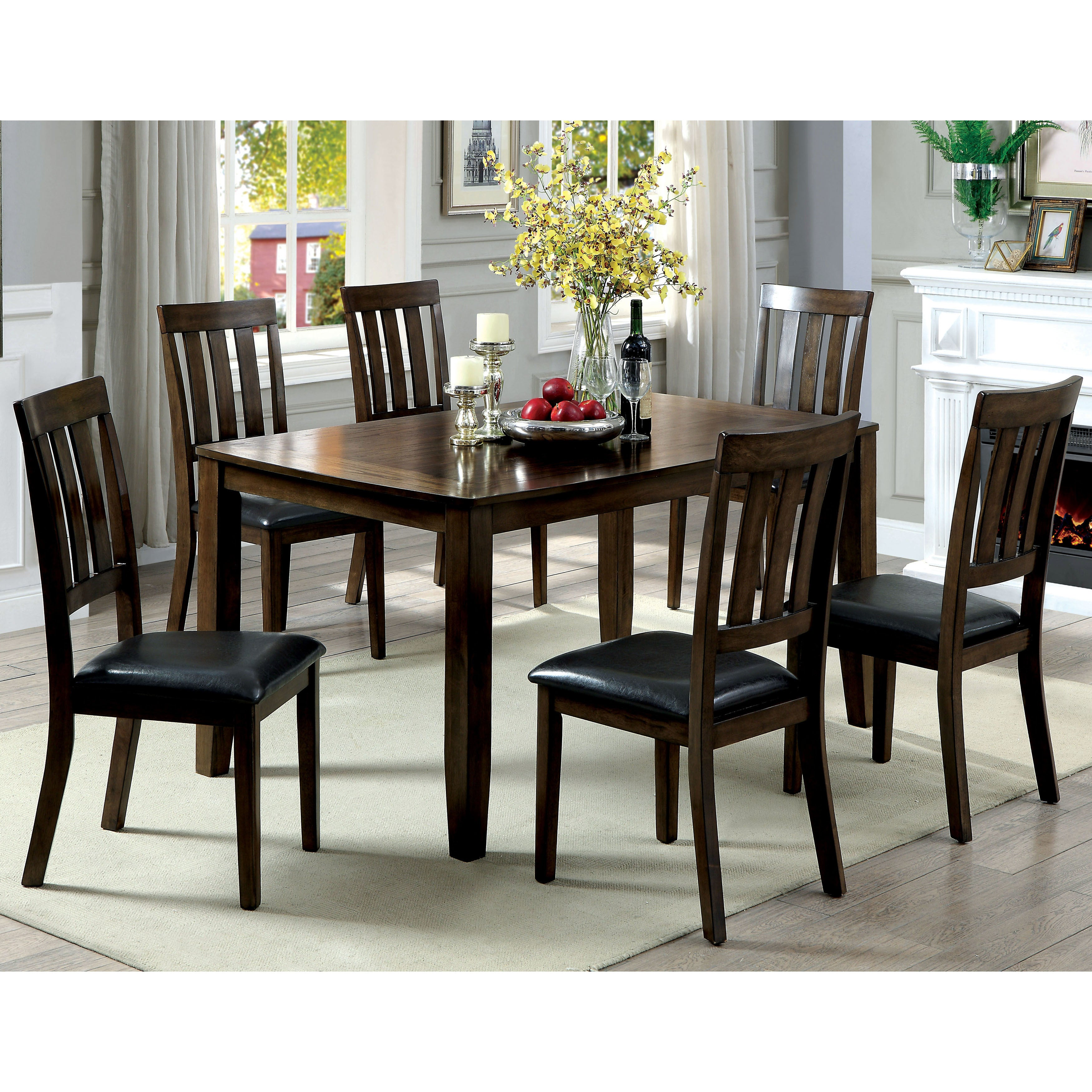 Nice Shop Furniture Of America Merlein Rustic 7 Piece Dark Oak Dining Set   Free  Shipping Today   Overstock.com   18751093