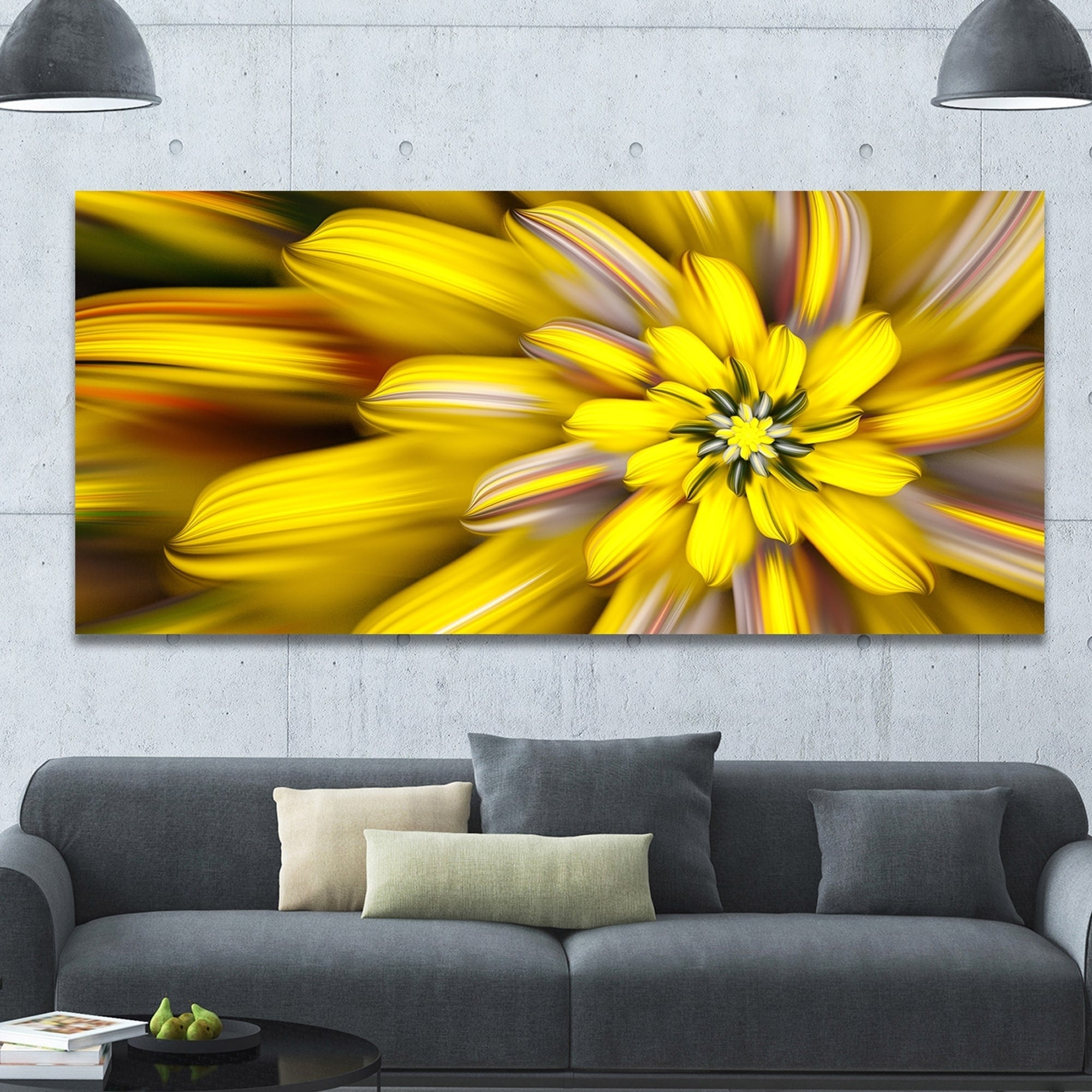 Shop Designart \'Massive Yellow Fractal Flower\' Extra Large Floral ...