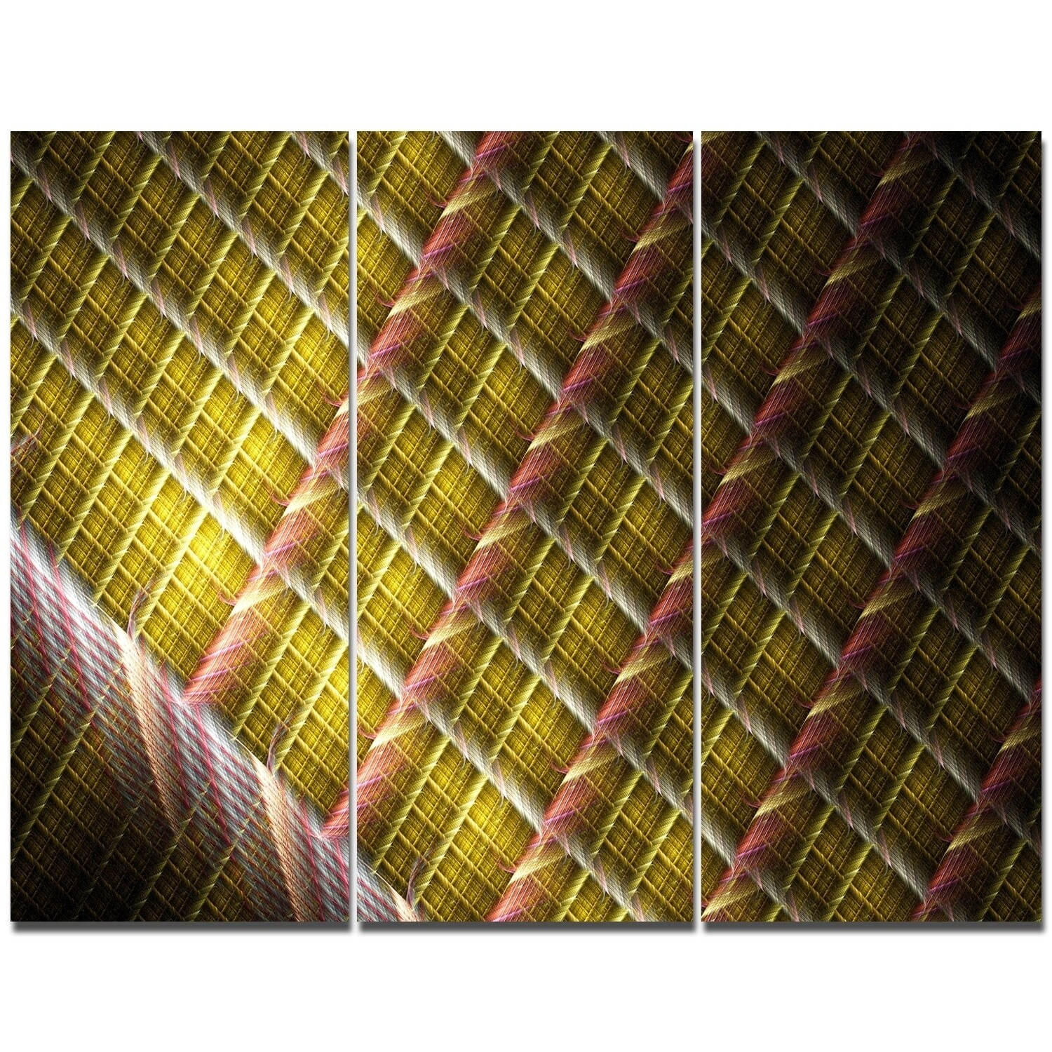 Shop Designart \'Brown Metal Protective Grids\' Triptych Canvas Art ...