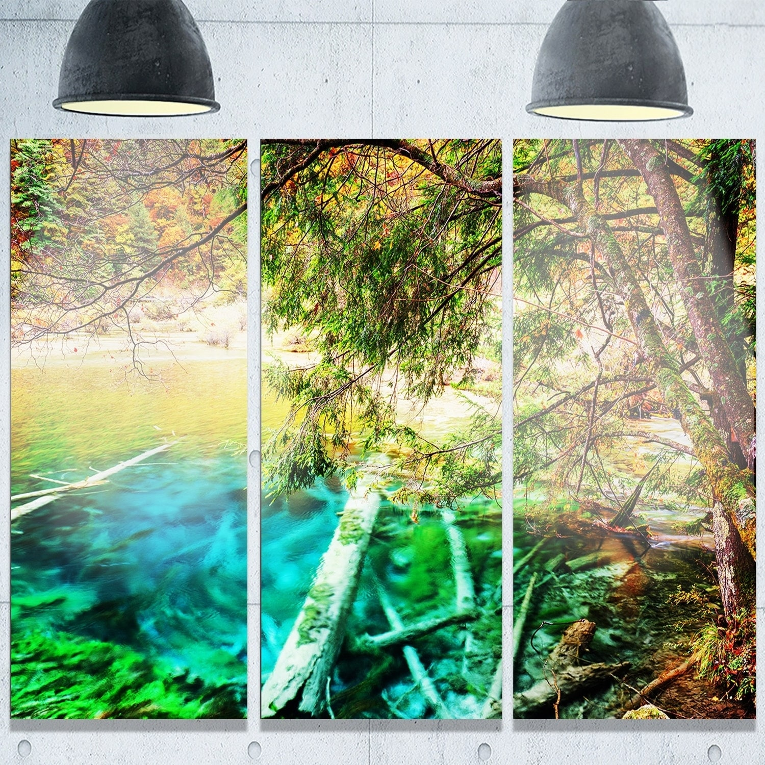 Designart \'Colorful Lake with Tree Trunks\' Landscape Glossy Metal ...