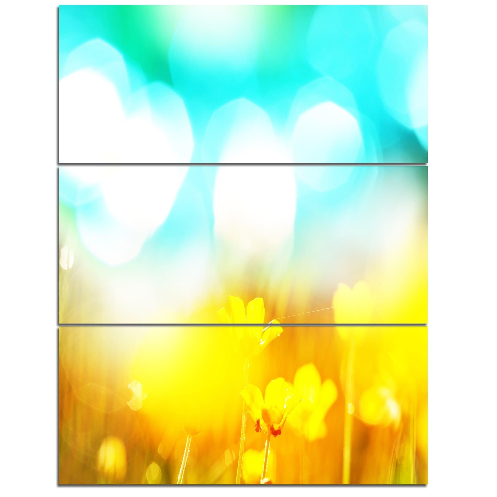 Designart \'Yellow Flowers on Blue Background\' Large Flower Metal ...