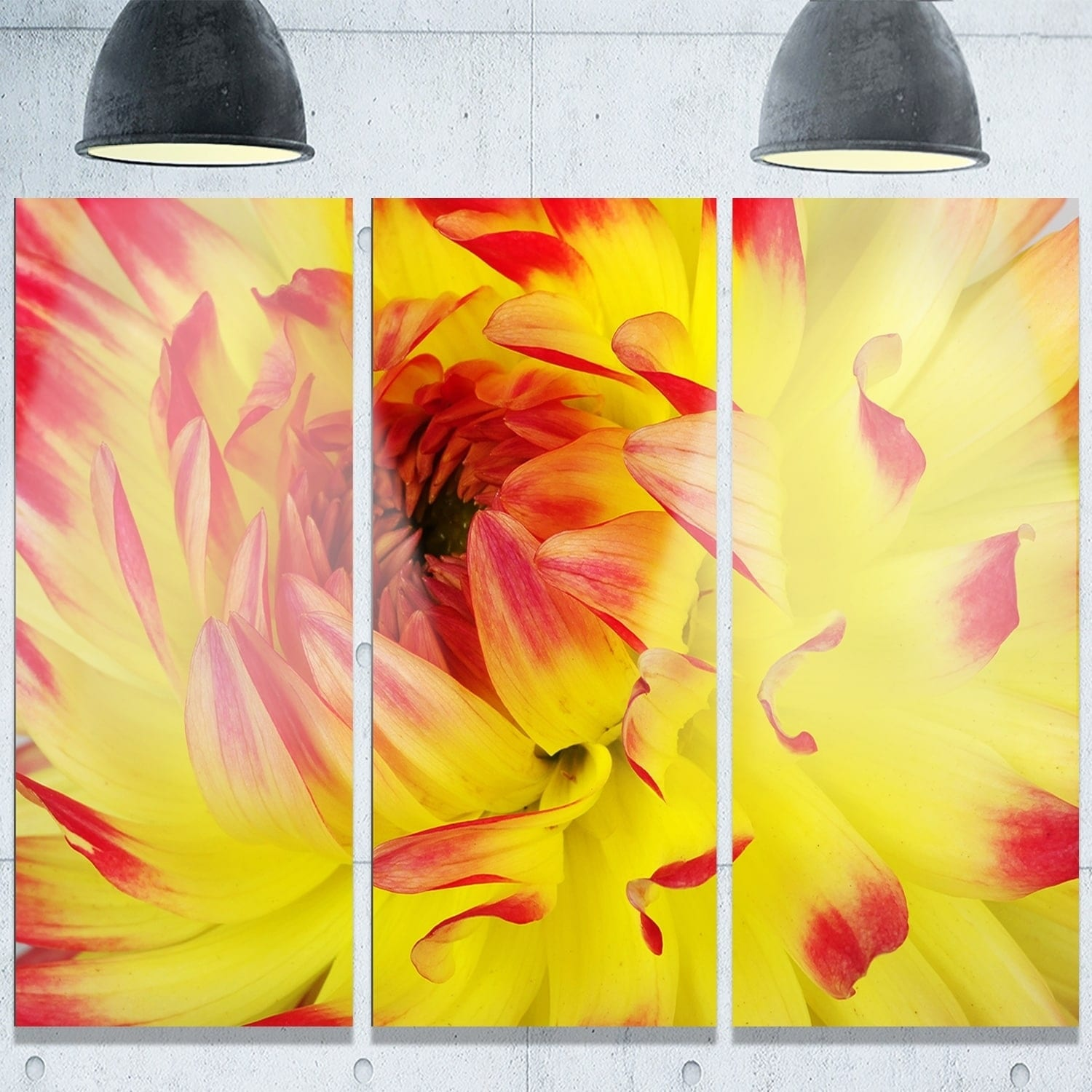 Shop Designart \'Smooth Yellow Red Flower Petals\' Extra Large Floral ...