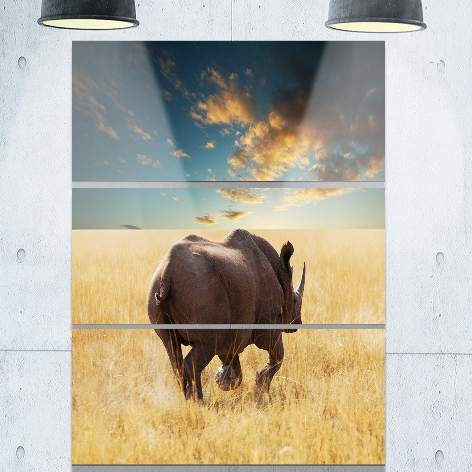 Designart \'Giant Rhino under Cloudy Sky\' Extra Large African Metal ...