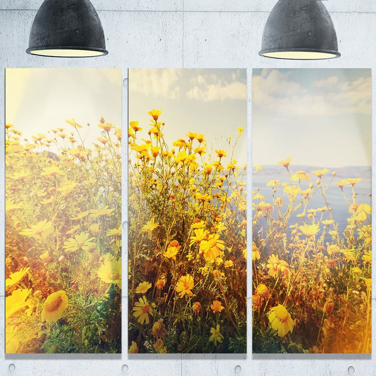 Shop Designart \'Wild Yellow Flowers Meadow\' Extra Large Floral ...