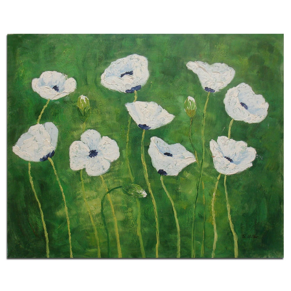 Shop Fine Original Oil Painting Of White Flowers On Canvas 20x24