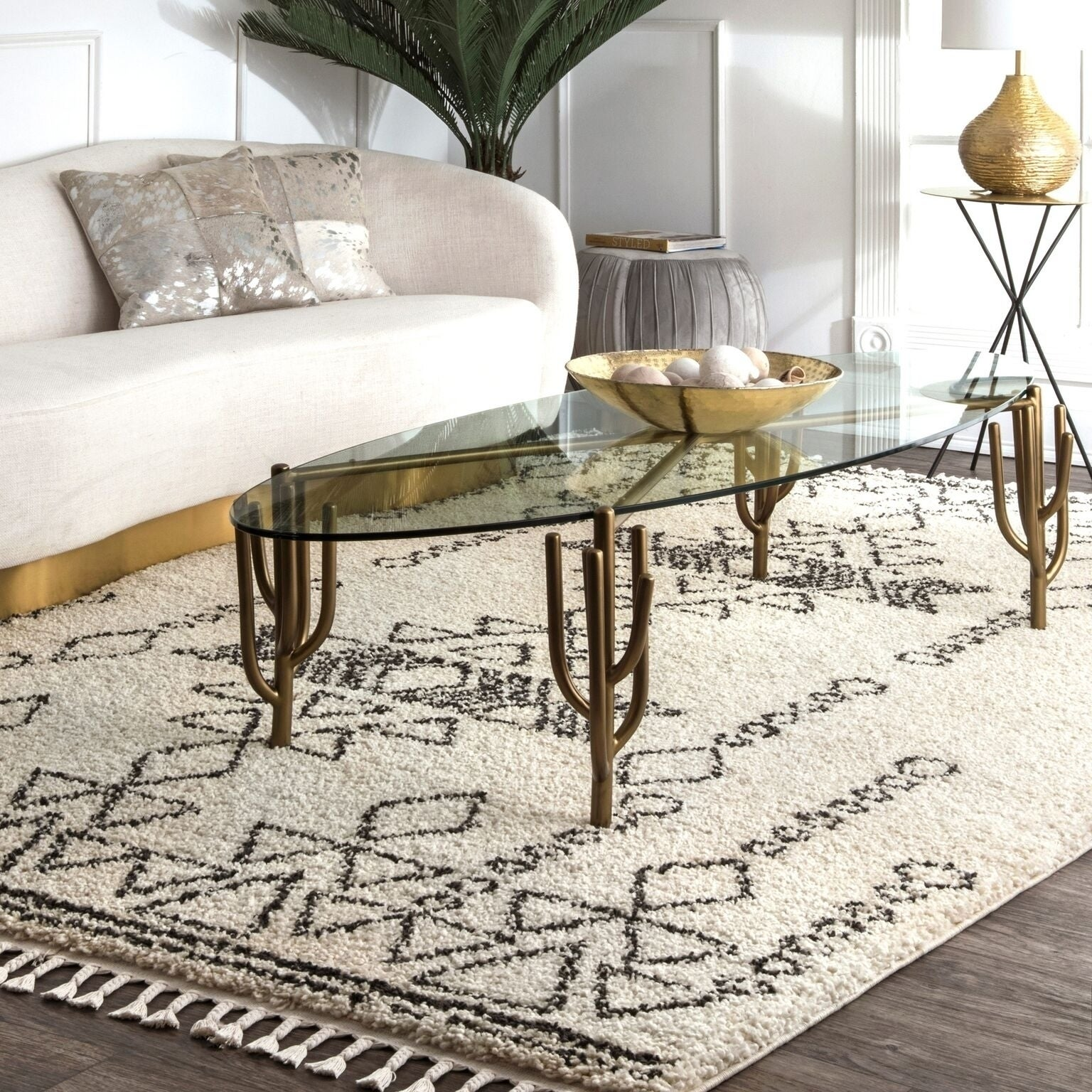 Nuloom Off White Contemporary Soft And Plush Moroccan Tribal Tel Rug