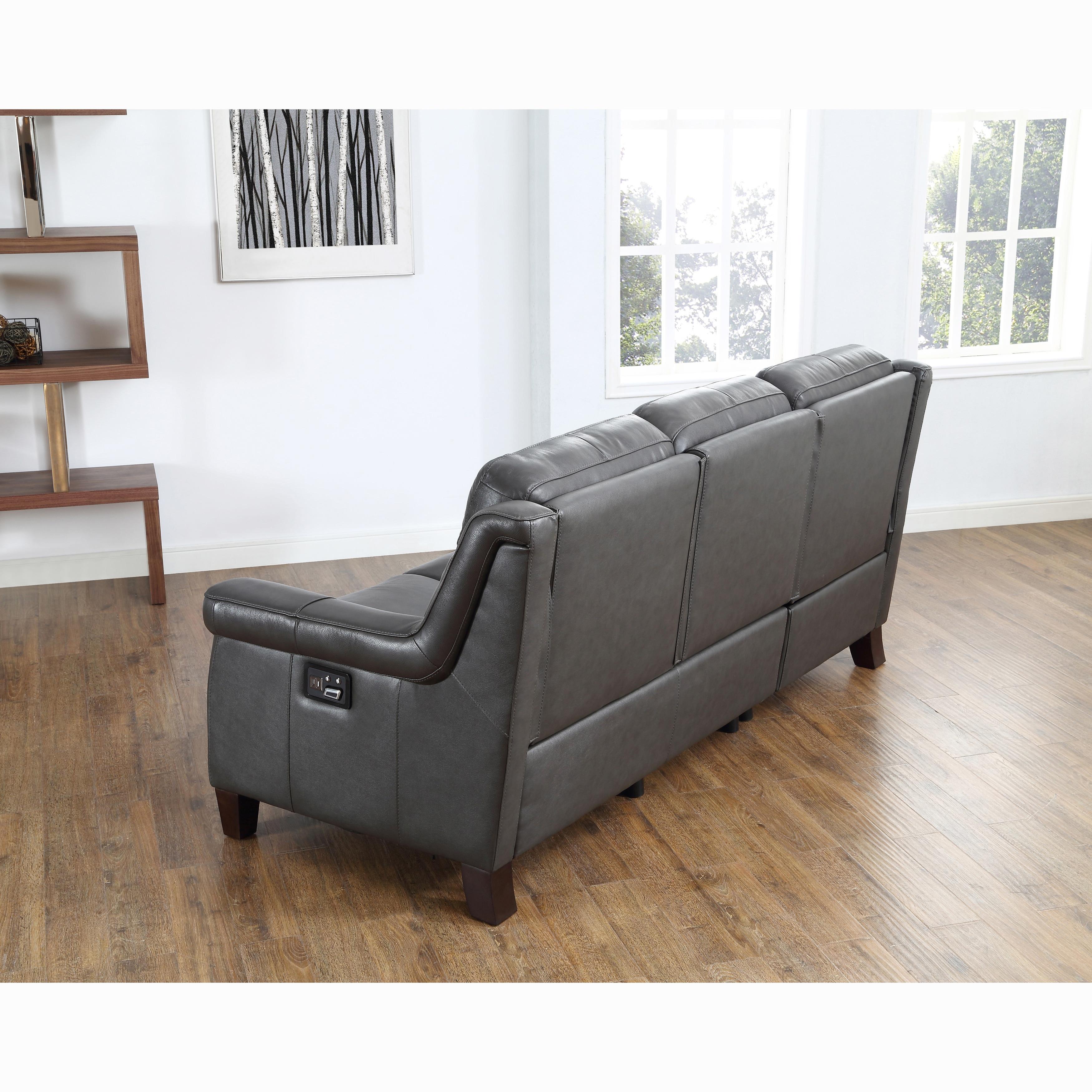 Alex Grey Top Grain Leather Power Reclining Sofa With Power  ~ Leggett And Platt Leather Recliner Sofa
