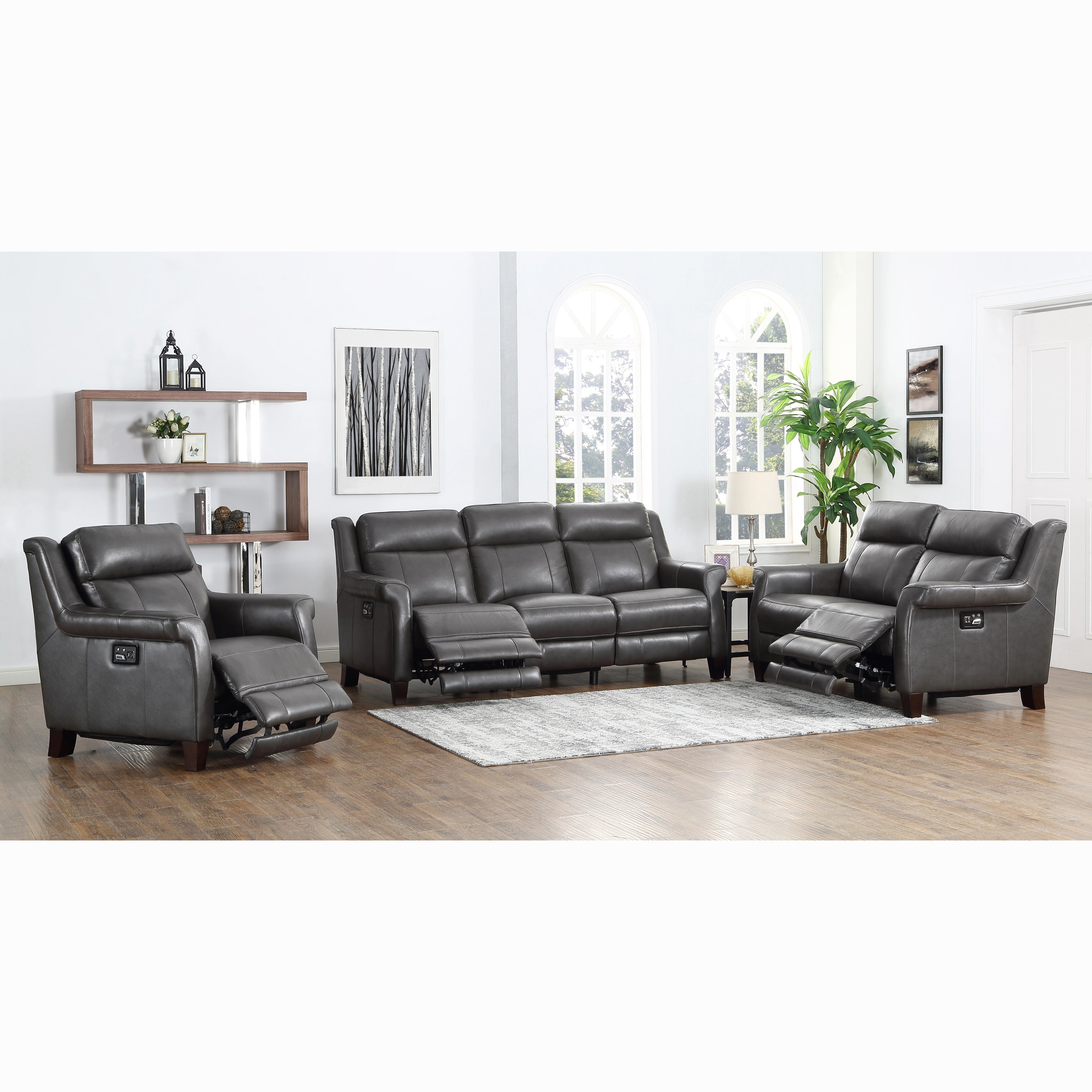 Alex Grey Top Grain Leather Power Reclining Sofa, Loveseat and Chair