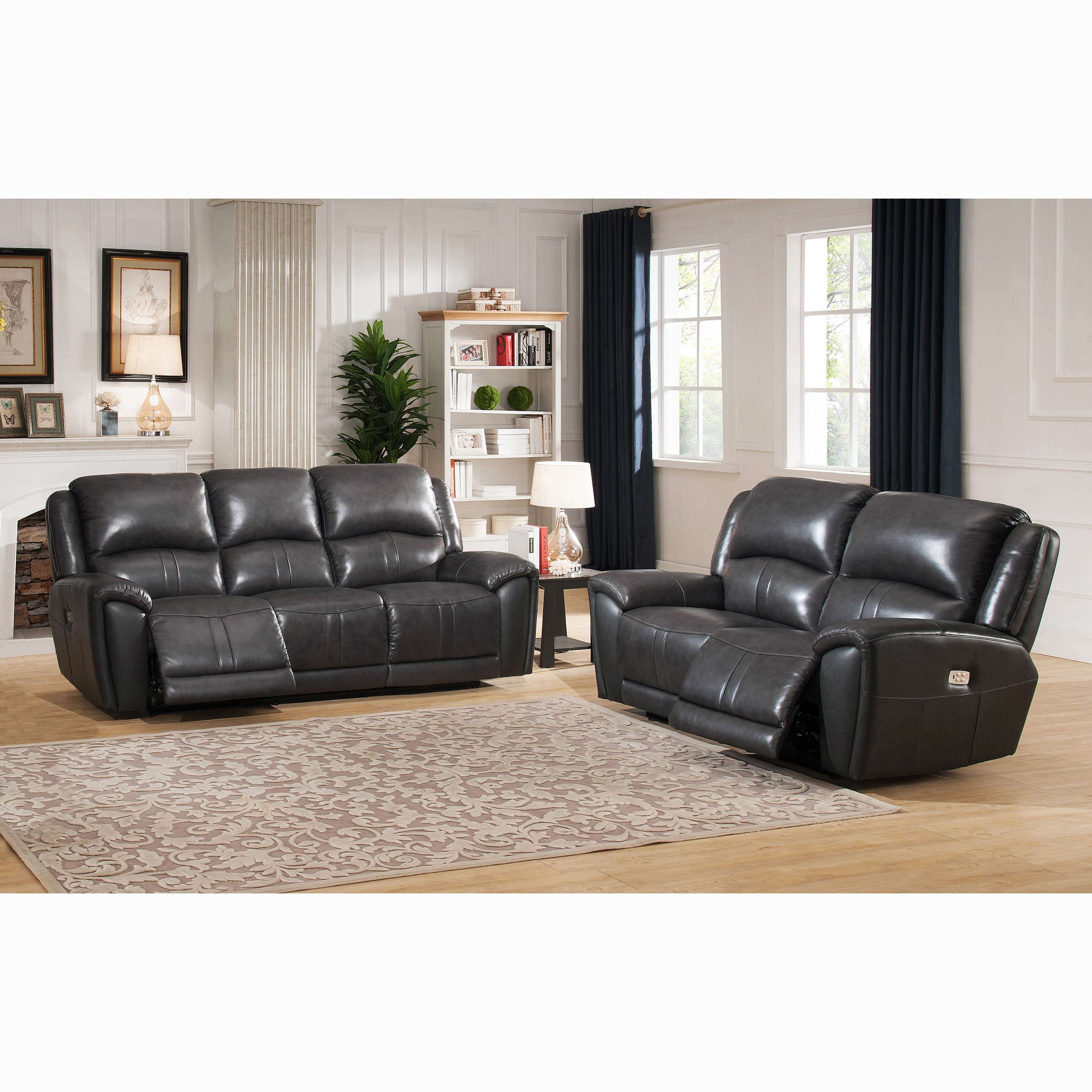 Shop Ari Grey Top Grain Leather Power Reclining Sofa and Loveseat ...