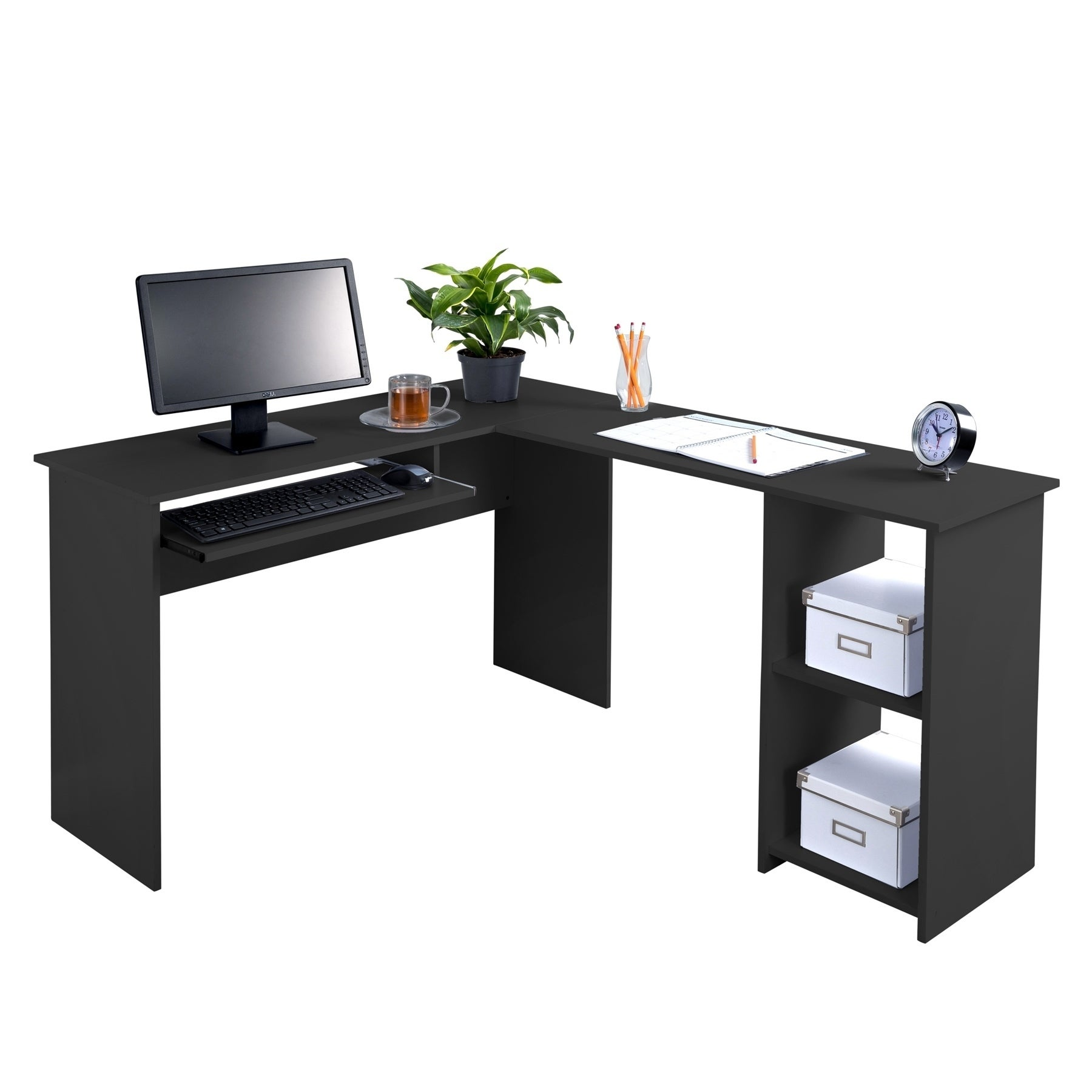 Genial Shop Fineboard L Shaped Office Corner Desk 2 Side Shelves   Free Shipping  Today   Overstock.com   18778846