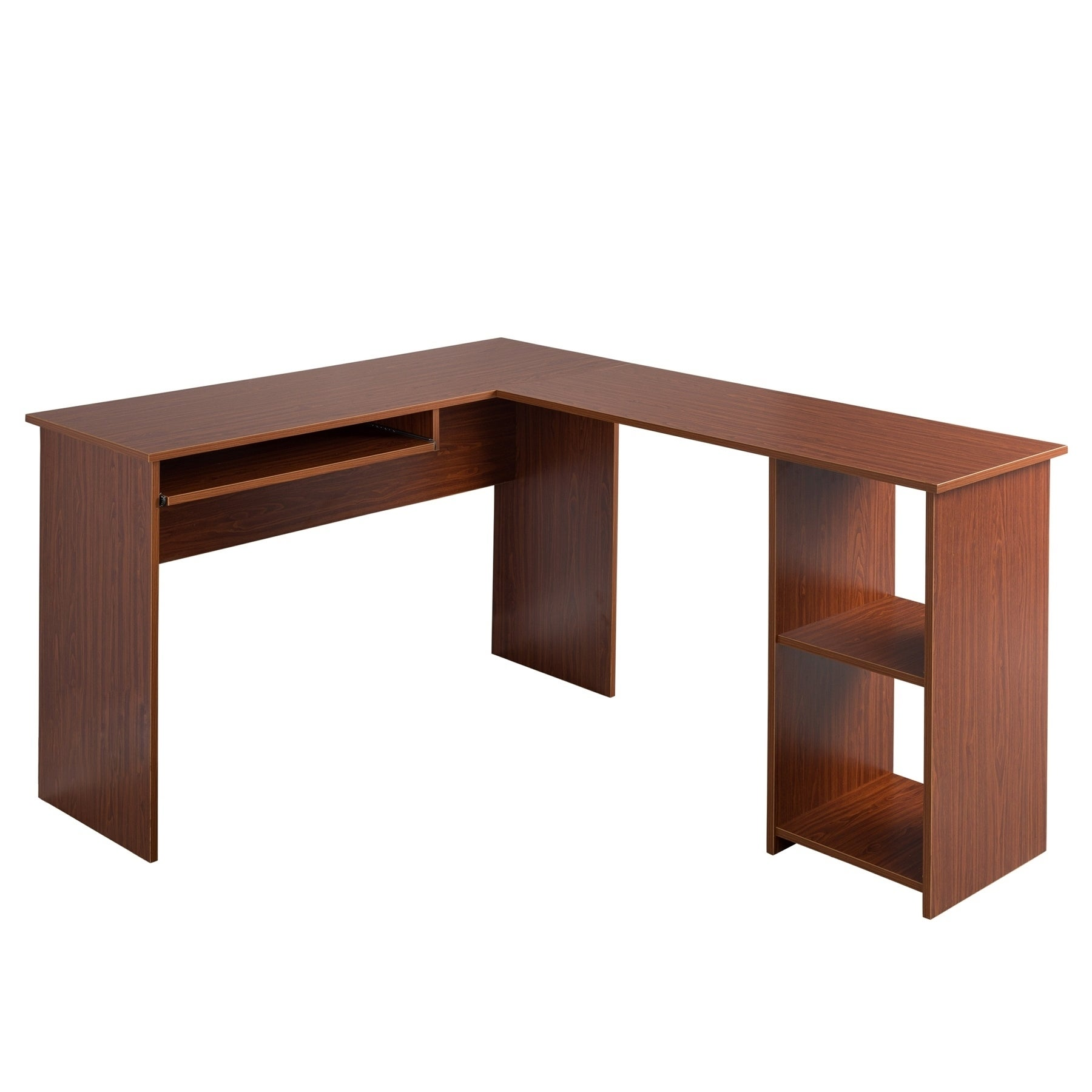 Beau Shop Fineboard L Shaped Office Corner Desk 2 Side Shelves   Free Shipping  Today   Overstock.com   18778846