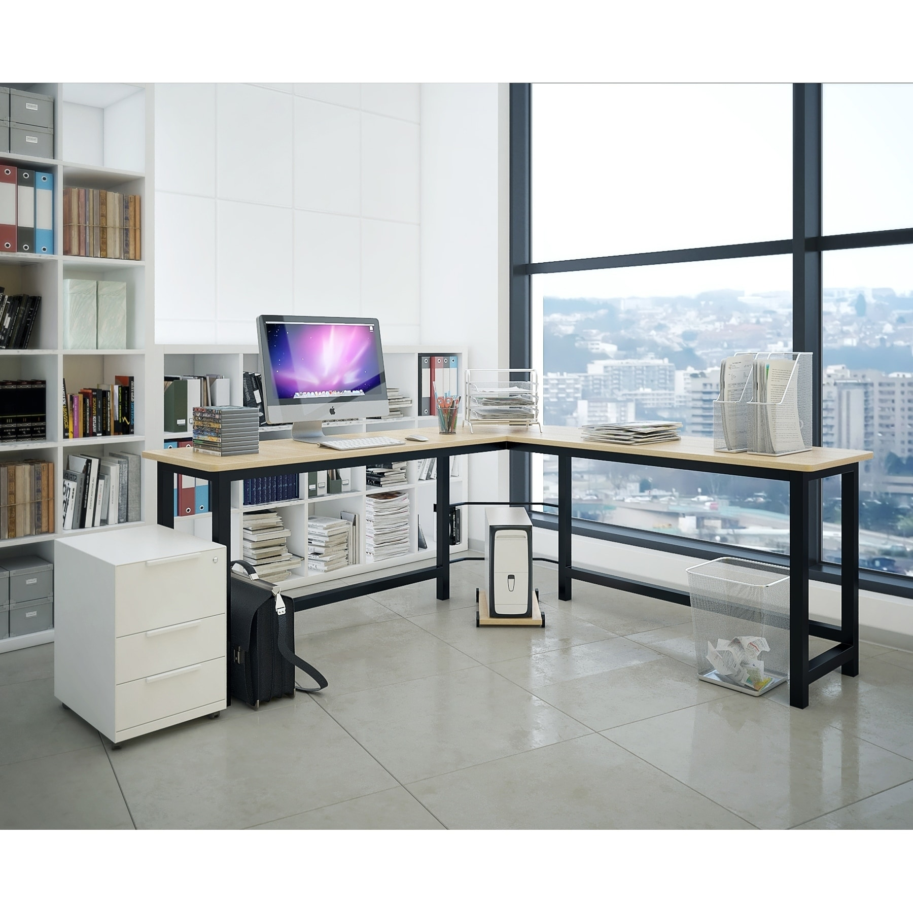 Fineboard L-shaped Office Computer Corner Desk - Free Shipping Today -  Overstock.com - 24849097