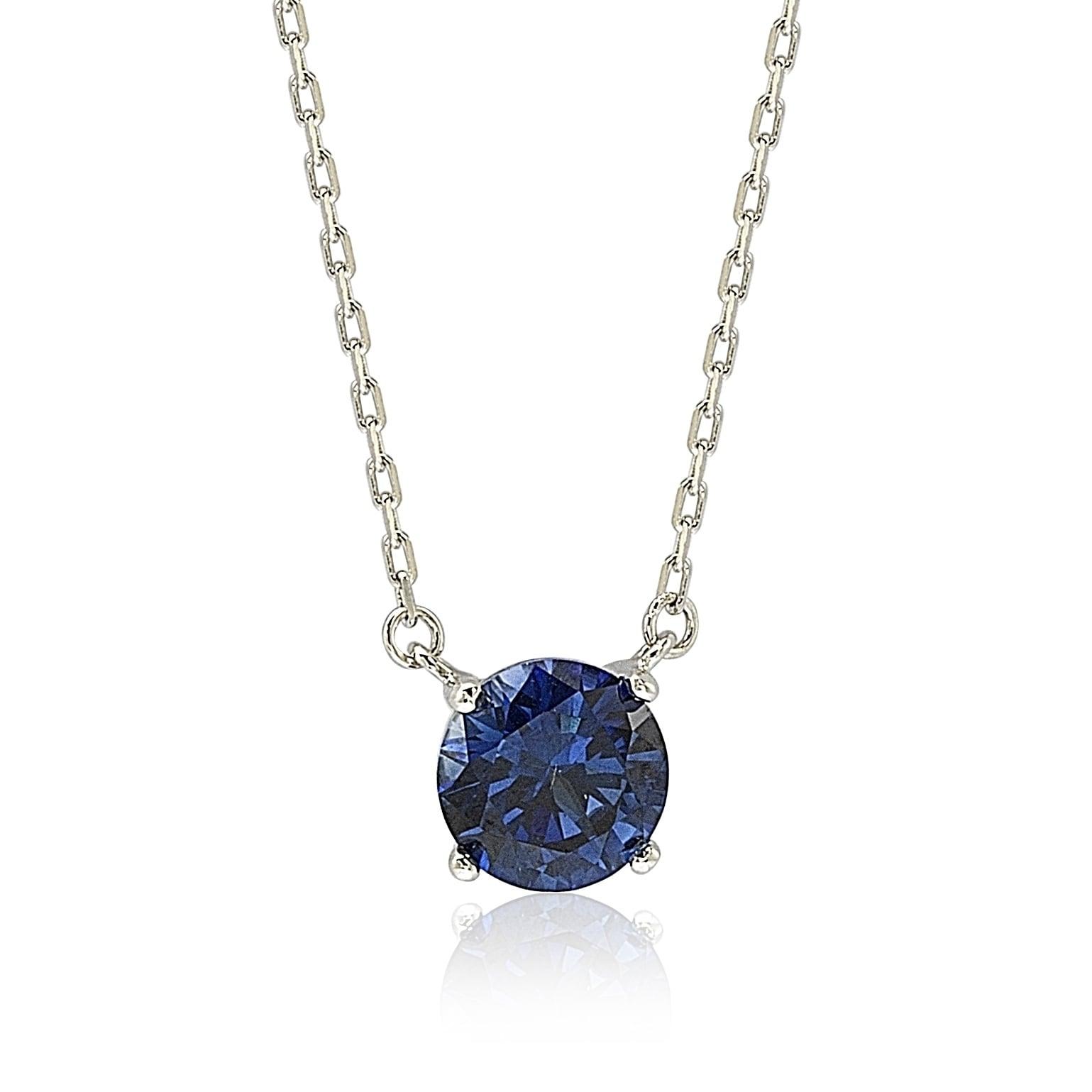 f83287ece1602 Suzy Levian Sterling Silver Blue Sapphire Solitaire Necklace