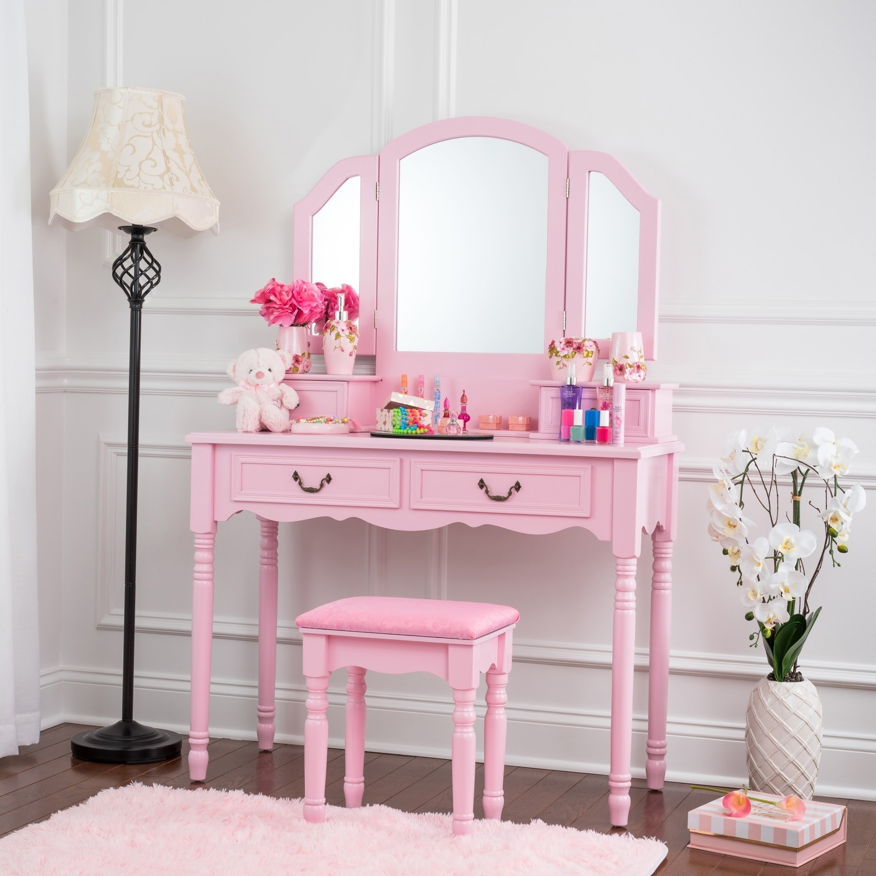 Beautiful Fineboard Elegant Vanity Dressing Table Set Makeup Dressing Table With 3  Mirrors And Stool, 4 Drawers   Free Shipping Today   Overstock   24857378