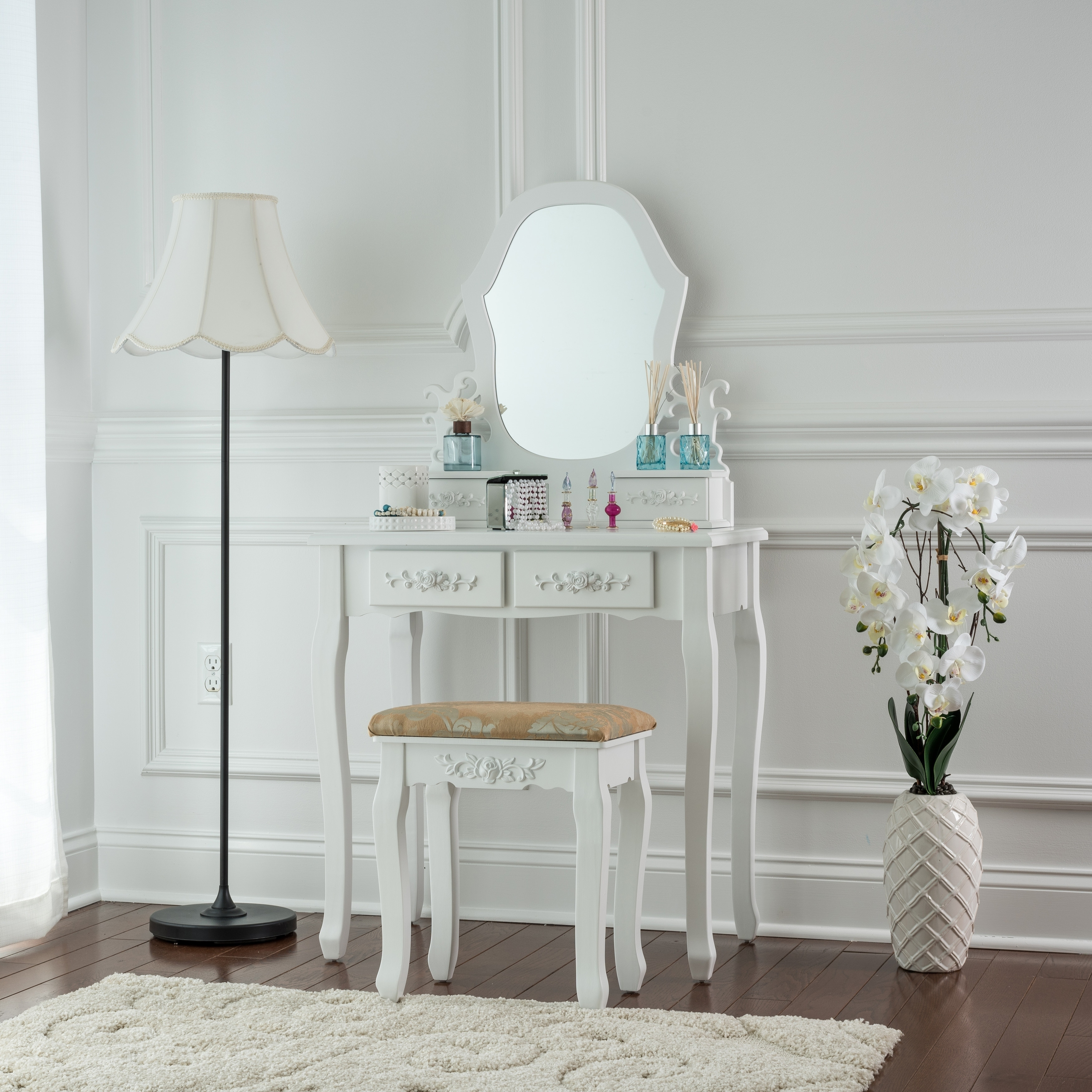 mirror furniture lighted show perfect light using small pin bench fabric makeup in way beauty set and table vanity maximum with by black