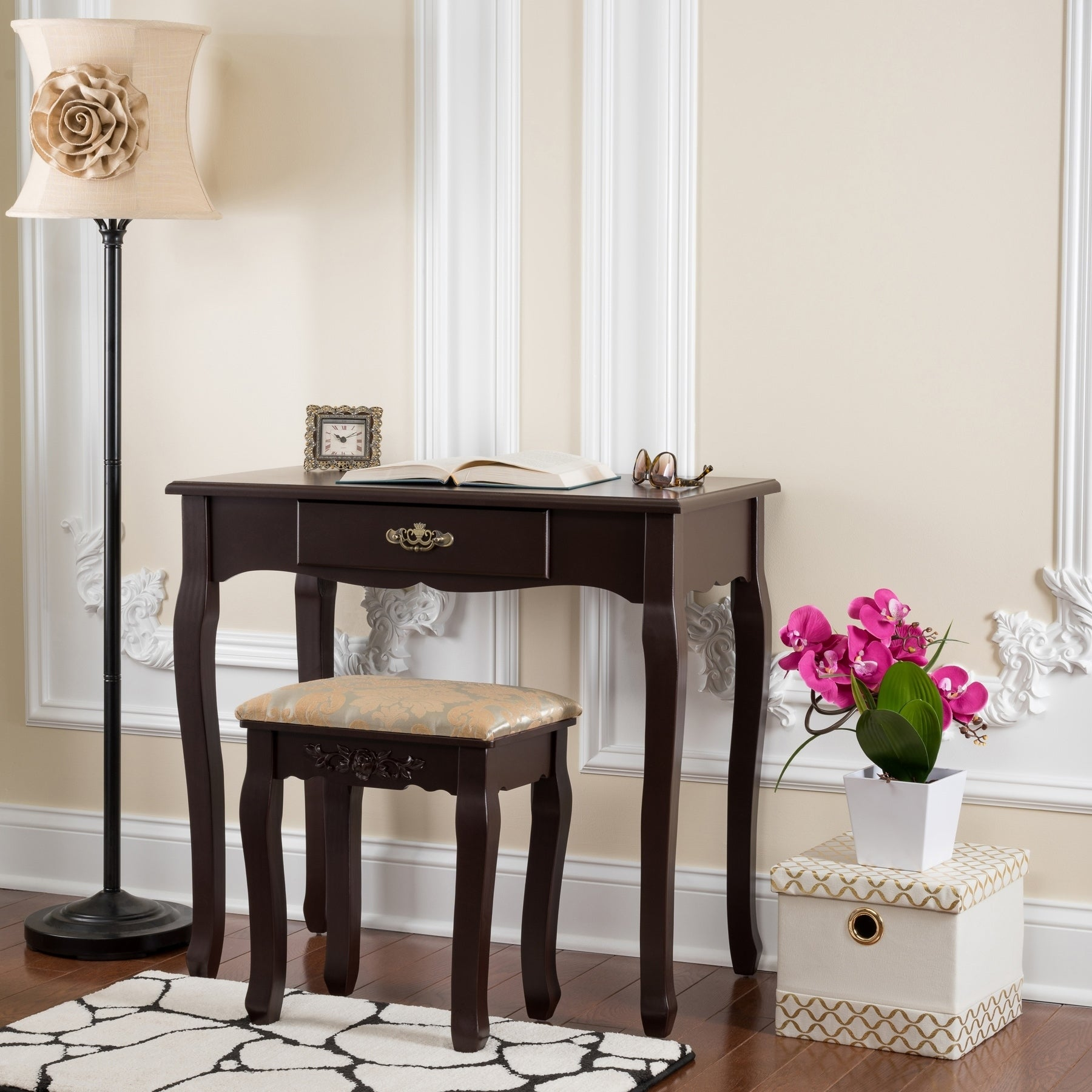 Incroyable Shop Fineboard Vanity Table Set Wooden Dressing Table With Single Mirror,  Organization Drawers Makeup Table U0026 Stool   Free Shipping Today    Overstock.com   ...