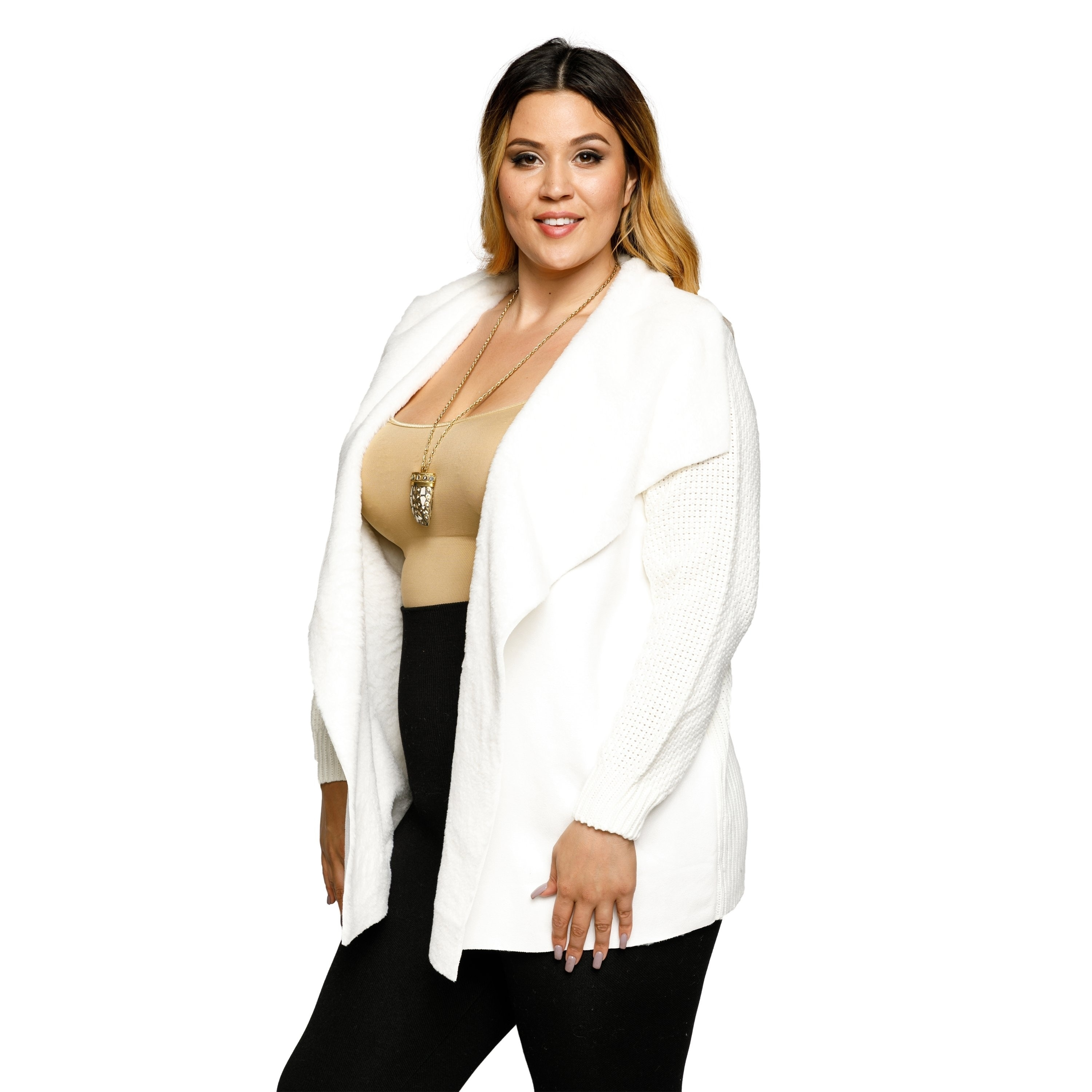 0c7a72f8c1 Shop Xehar Womens Plus Size Faux Fur Collar Open Front Cardigan Sweater -  Free Shipping On Orders Over $45 - Overstock - 18793550