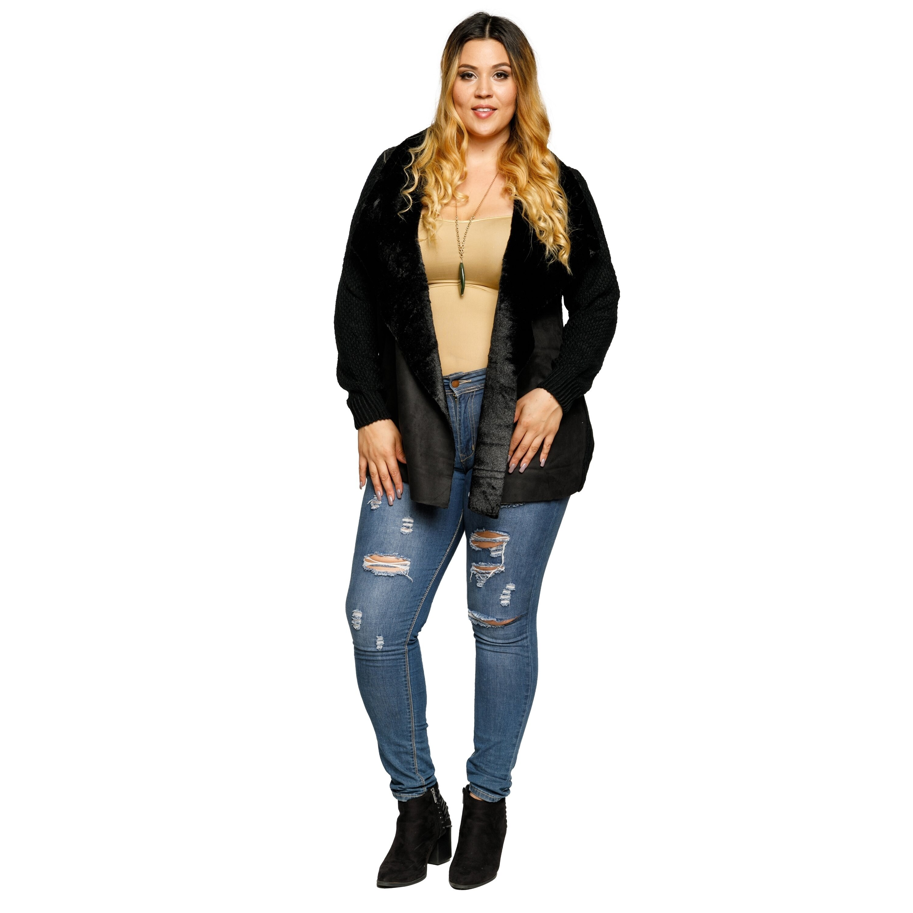 b6539277e6 Shop Xehar Womens Plus Size Faux Fur Collar Open Front Cardigan Sweater -  Free Shipping On Orders Over $45 - Overstock.com - 18793567