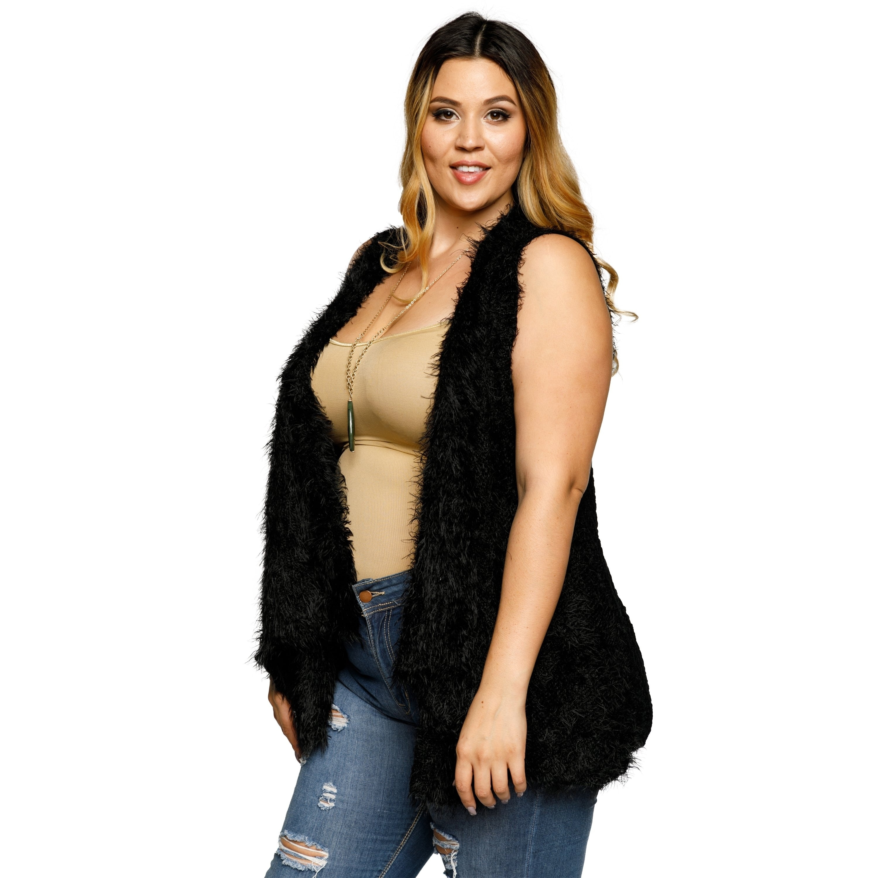 50a88b0630 Shop Xehar Womens Plus Size Fuzzy Faux Fur Open Front Sweater Vest - Free  Shipping On Orders Over $45 - Overstock - 18793648