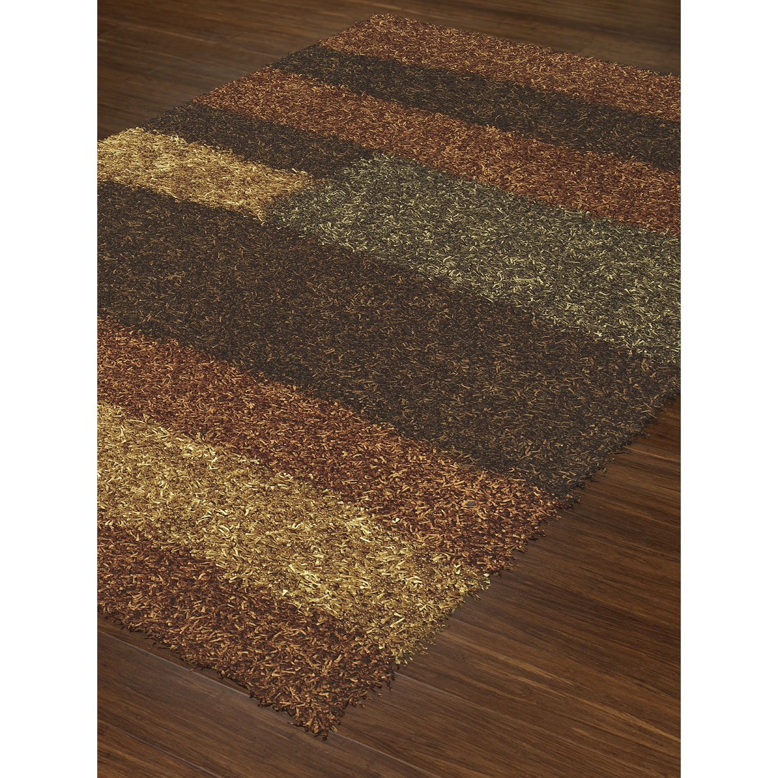 ADDISON Miramar Modern Color Block Russet/Multi Shag Area Rug (9\'X13 ...