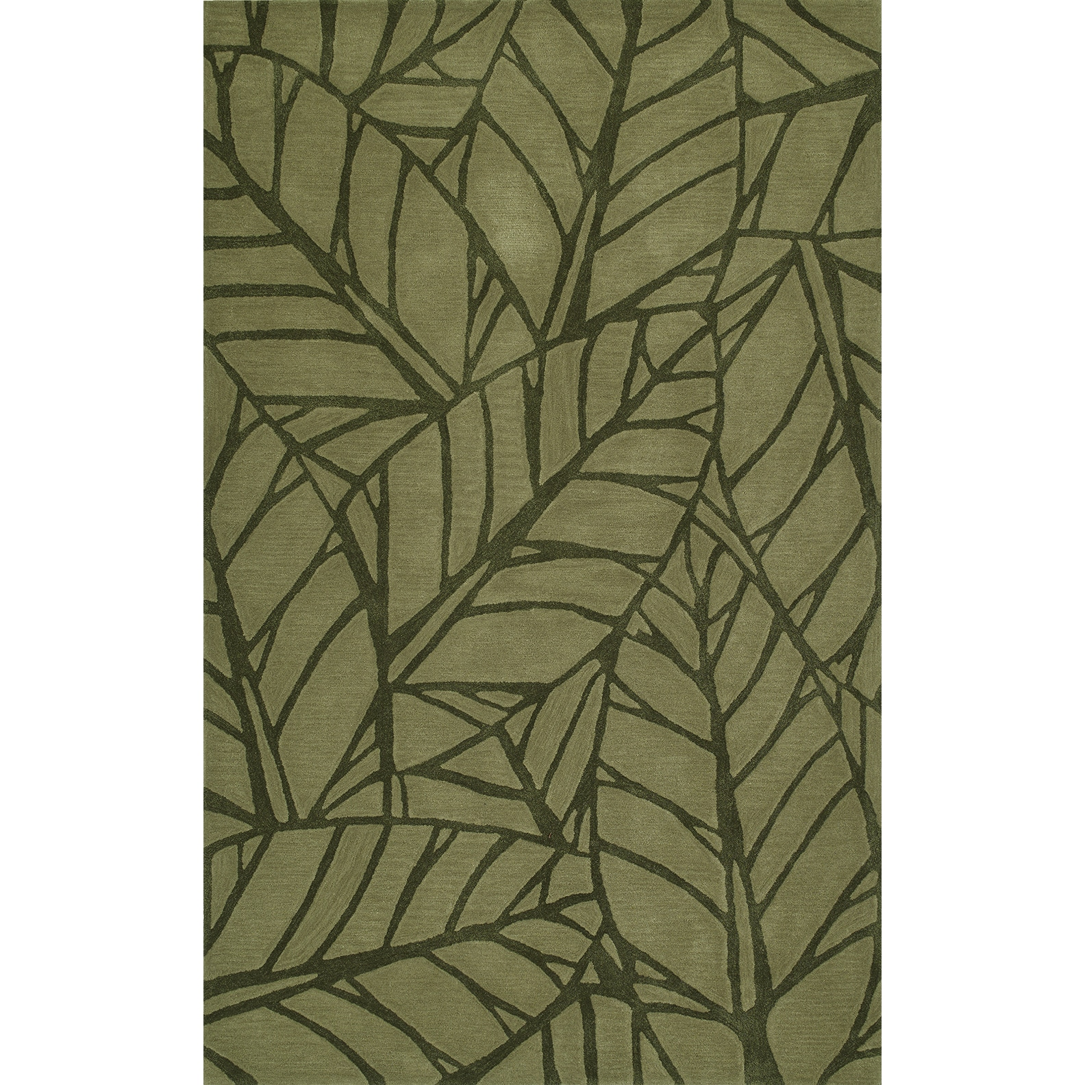Shop Addison Rugs Zenith Bold Leaf Olive Green Area Rug - 8\' x 10 ...