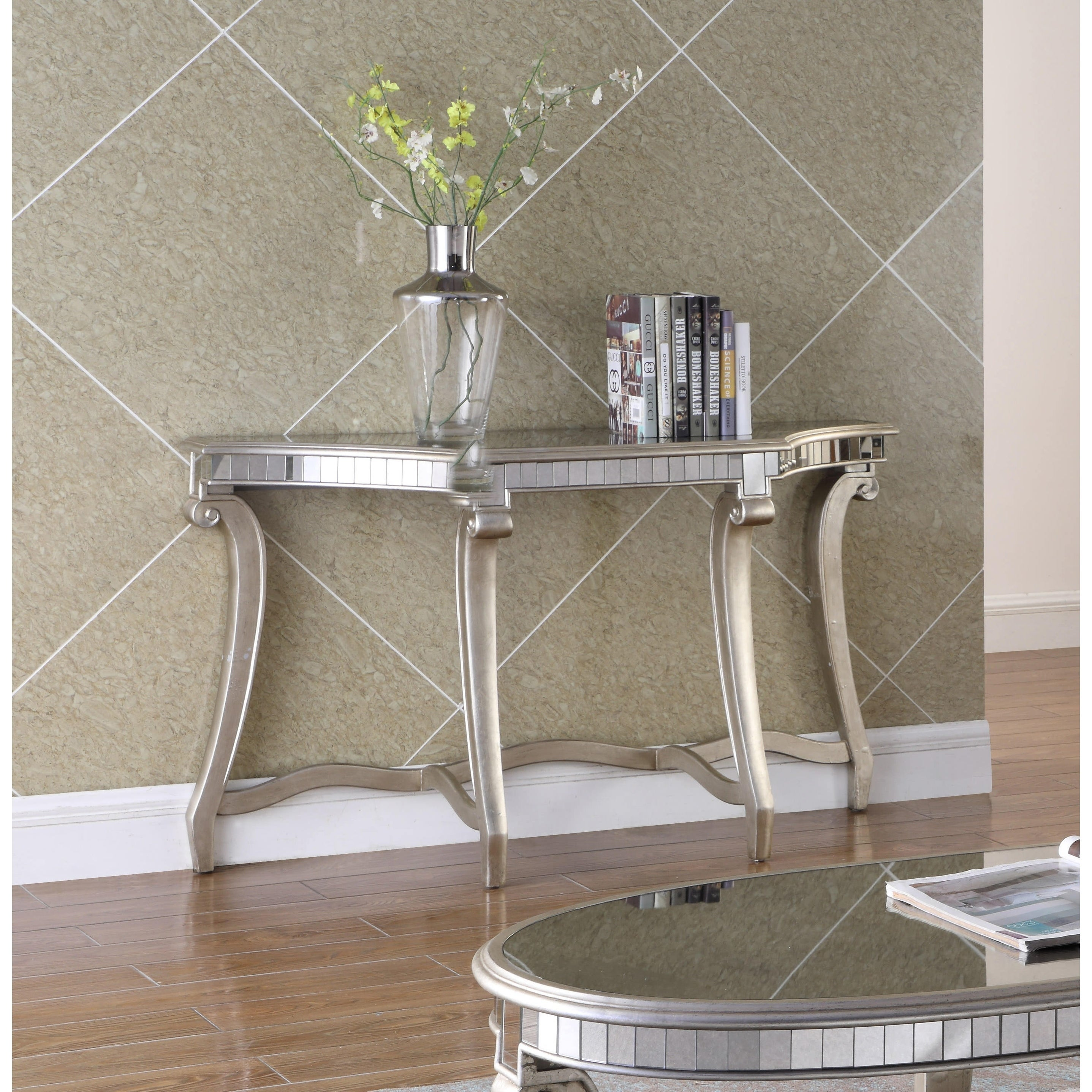 Superb Best Master Furniture Champagne Mirrored Sofa Table   Free Shipping Today    Overstock   24869858