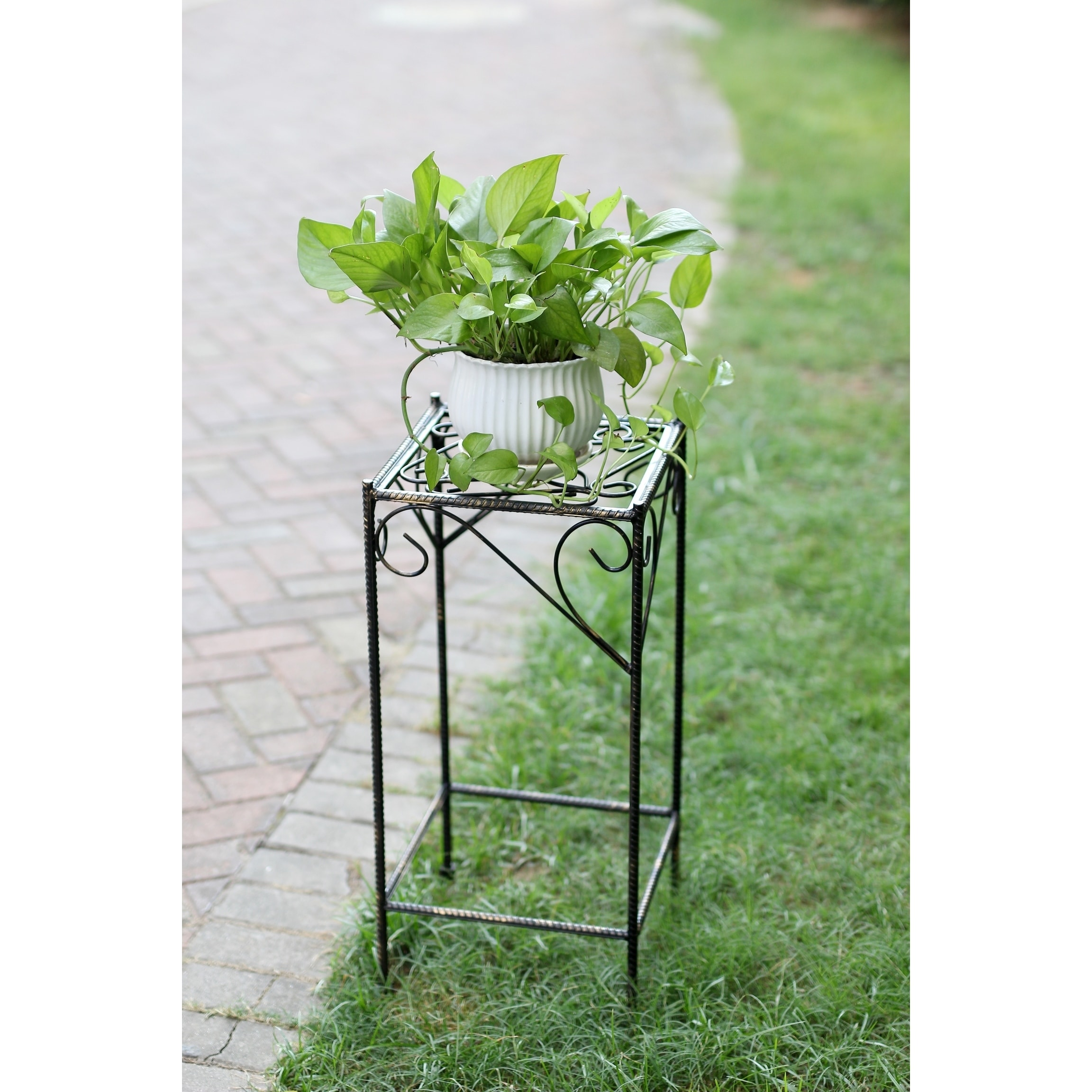 26 in.Large Celtic Clover Squre Cast Iron Plant Stand - Free ...