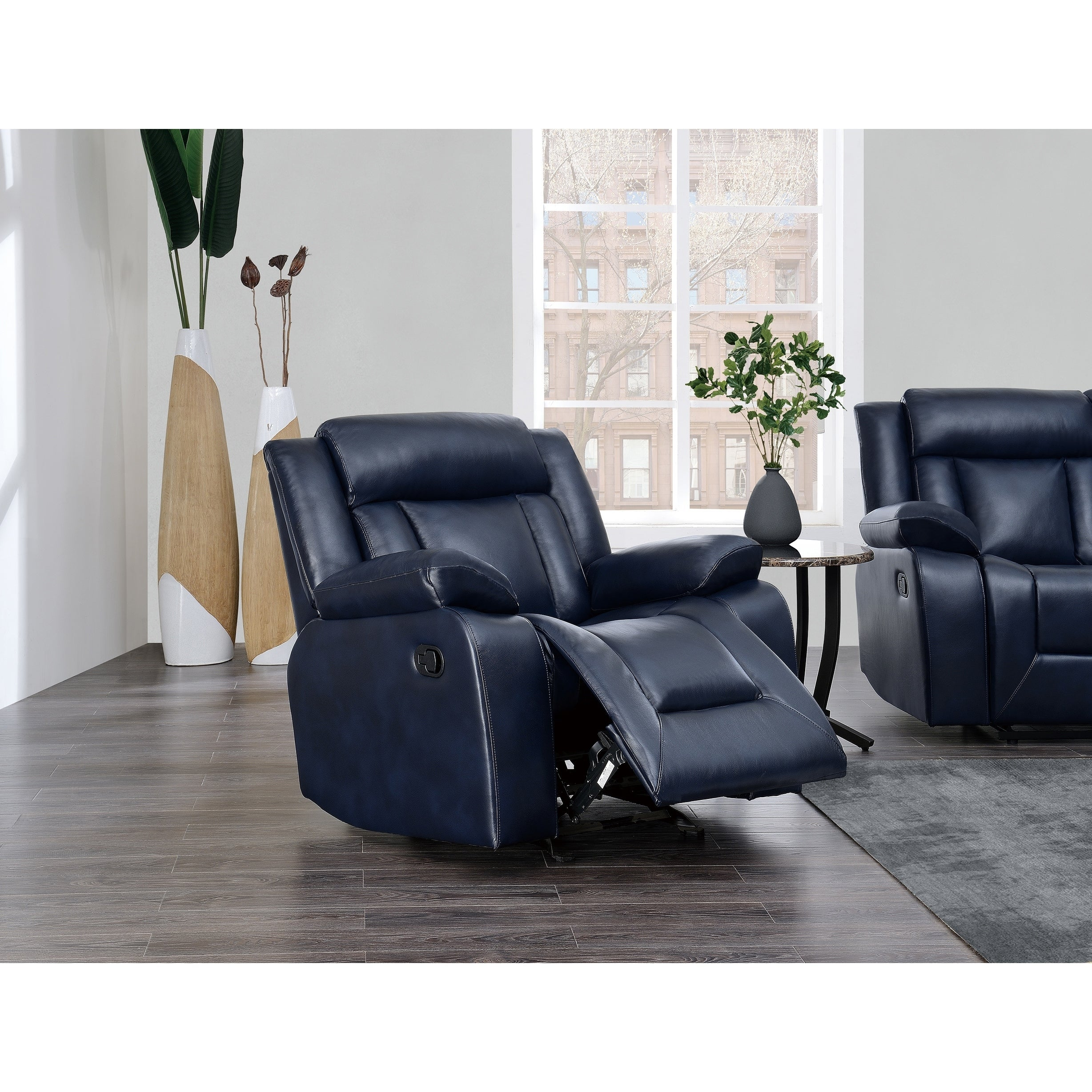Shop global furniture navy blue reclining glider recliner free shipping today overstock com 18804374