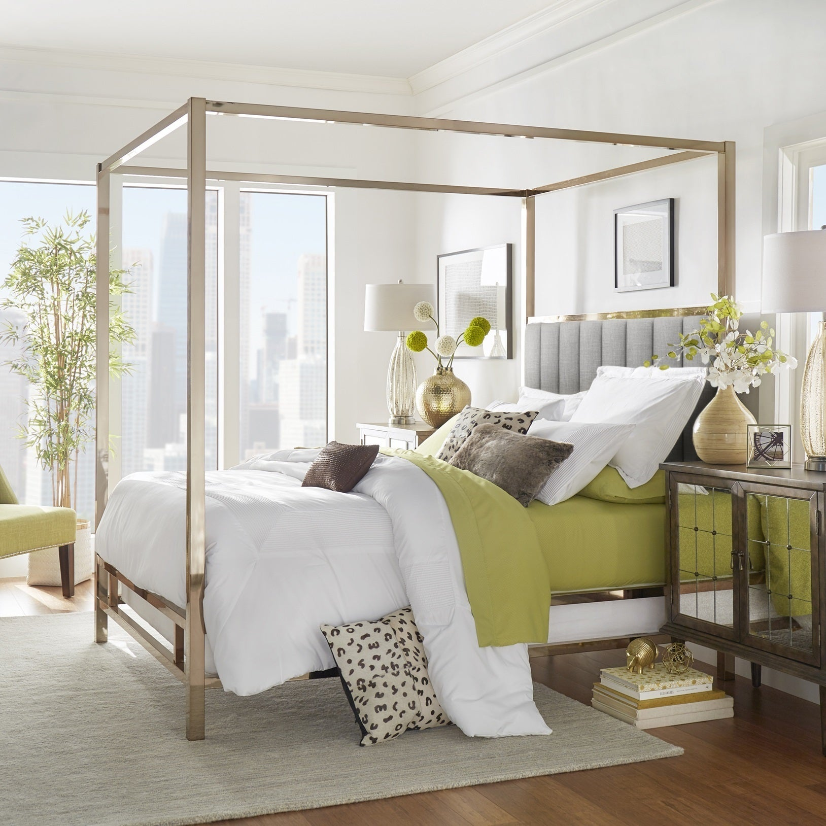 Solivita Champagne Gold Metal Canopy Bed With Vertical Channel Headboard By Inspire Q Bold Free Shipping Today 24872922