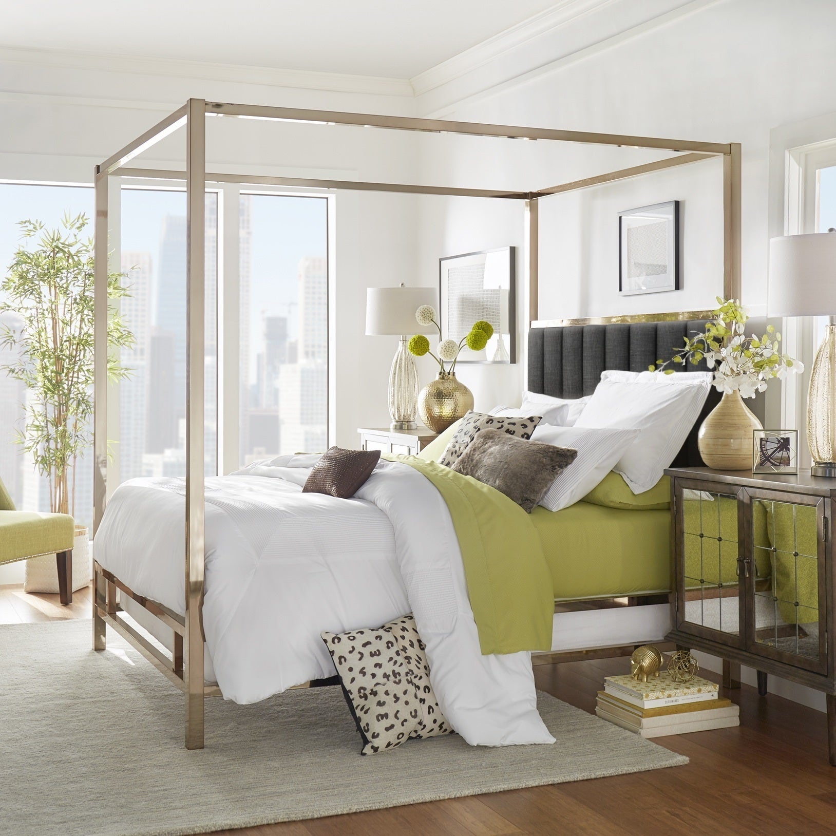 Solivita Ch&agne Gold Metal Canopy Bed with Vertical Channel Headboard by iNSPIRE Q Bold - Free Shipping Today - Overstock.com - 24872922 & Solivita Champagne Gold Metal Canopy Bed with Vertical Channel ...