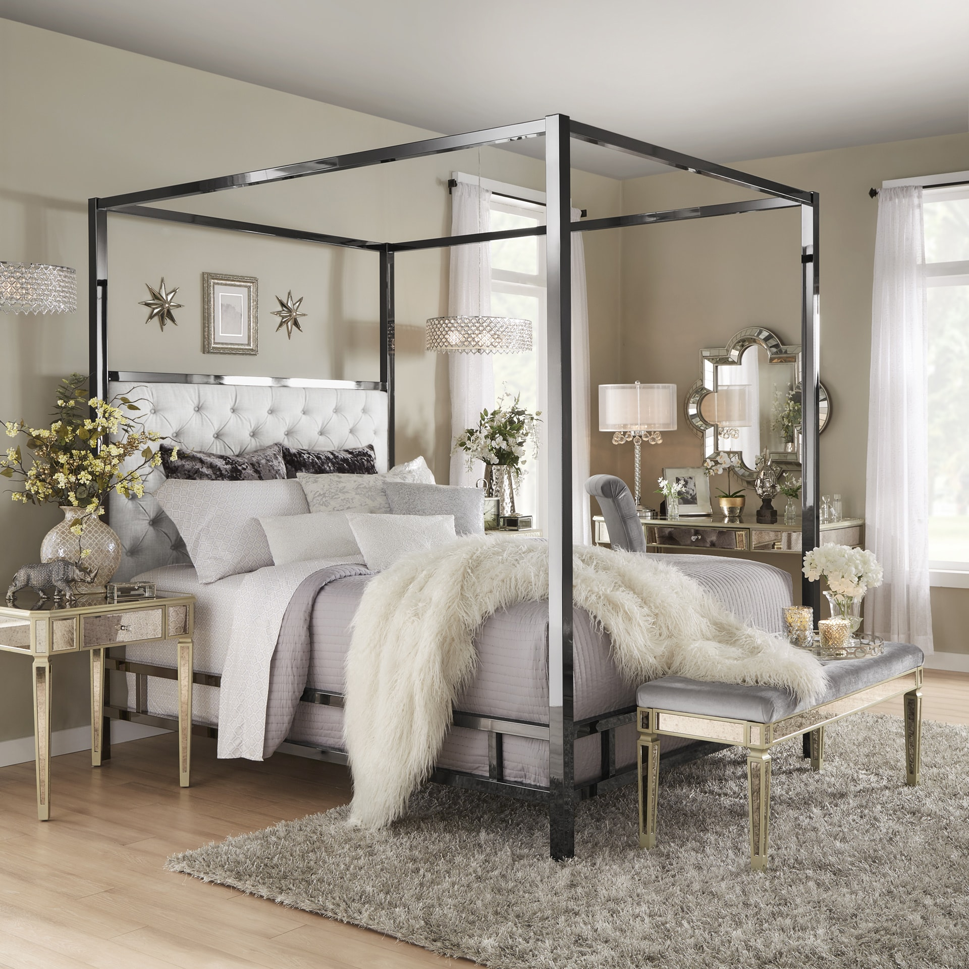 Solivita Black Nickel Metal Canopy Bed with Tufted Headboard by iNSPIRE Q  Bold - Free Shipping Today - Overstock.com - 24873118