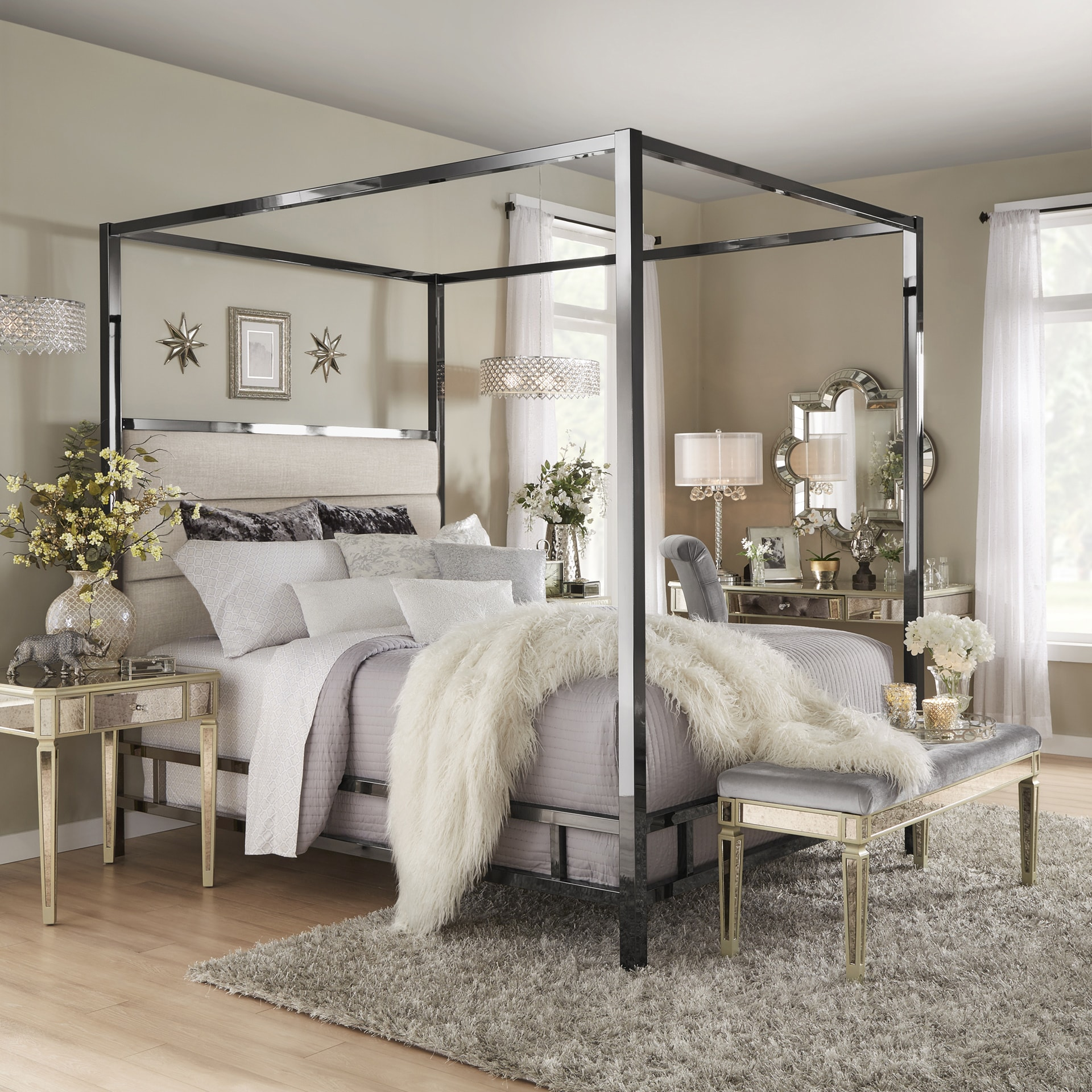 Solivita Black Nickel Metal Canopy Bed with Horizontal Panel Headboard by  iNSPIRE Q Bold - Free Shipping Today - Overstock.com - 24873206