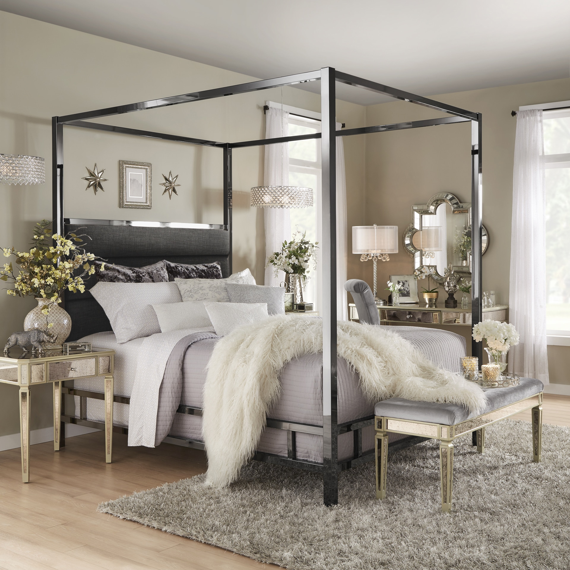 Solivita Black Nickel Metal Canopy Bed With Horizontal Panel Headboard By Inspire Q Bold On Free Shipping Today 18805859