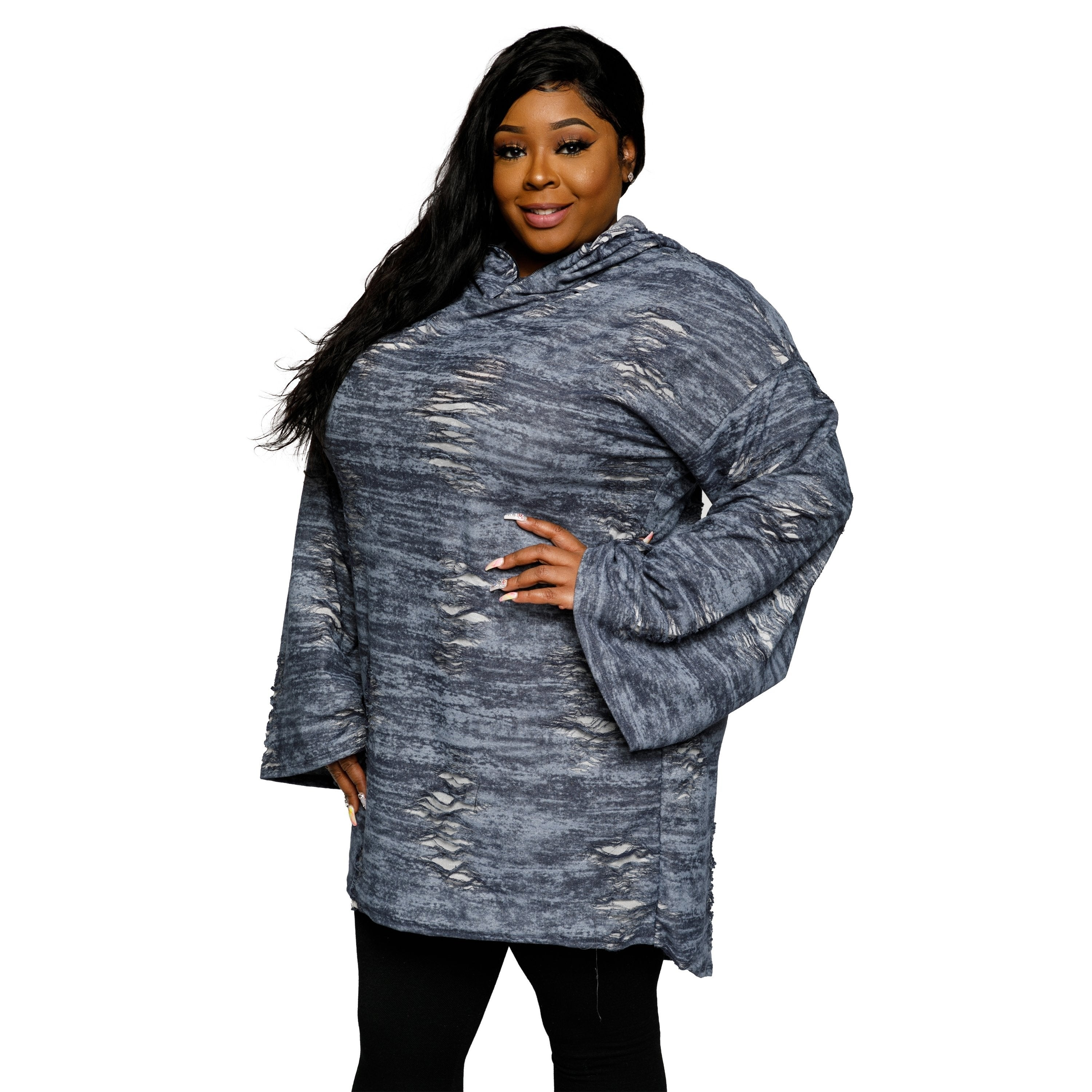 b2dc954abc9 Shop Xehar Womens Plus Size Distressed Oversized Hoodie Sweater Dress -  Free Shipping Today - Overstock - 18820673