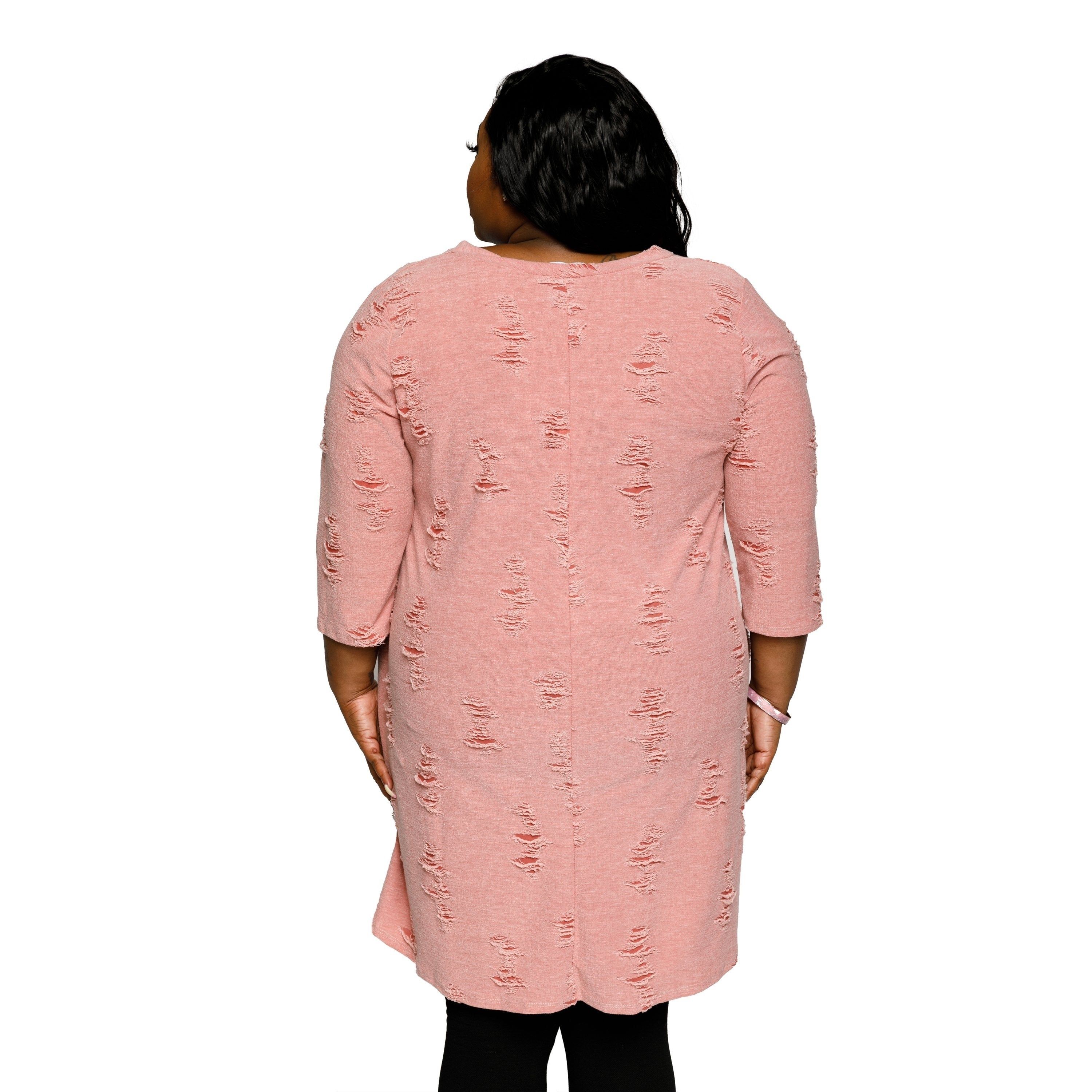 c48356a5 Shop Xehar Womens Plus Size Distressed Crisscross V-Neck Sweater Dress - Free  Shipping On Orders Over $45 - Overstock - 18820681