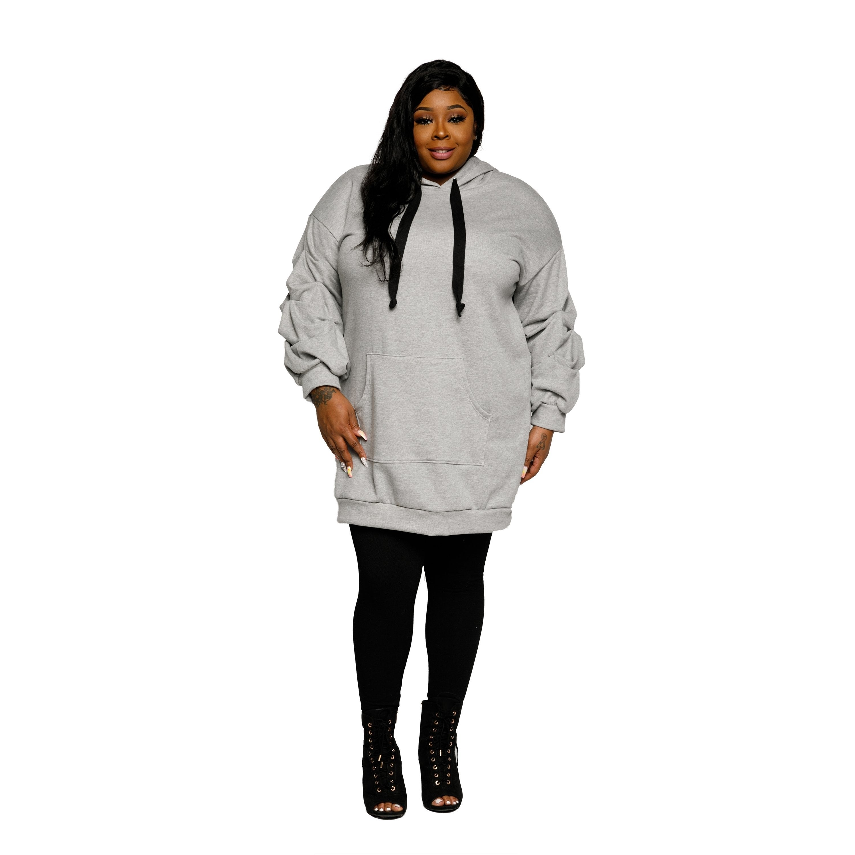 Xehar Womens Plus Size Casual Oversized Ruched Hoodie Sweater Dress
