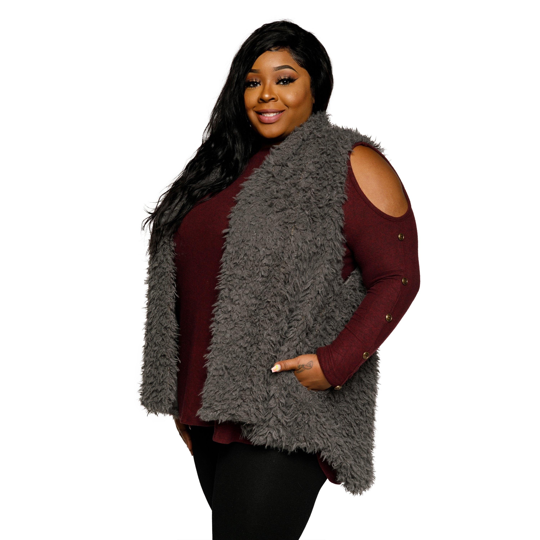 11a7ffbb071d2 Shop Xehar Womens Plus Size Sleeveless Faux Fur Open Front Sweater ...