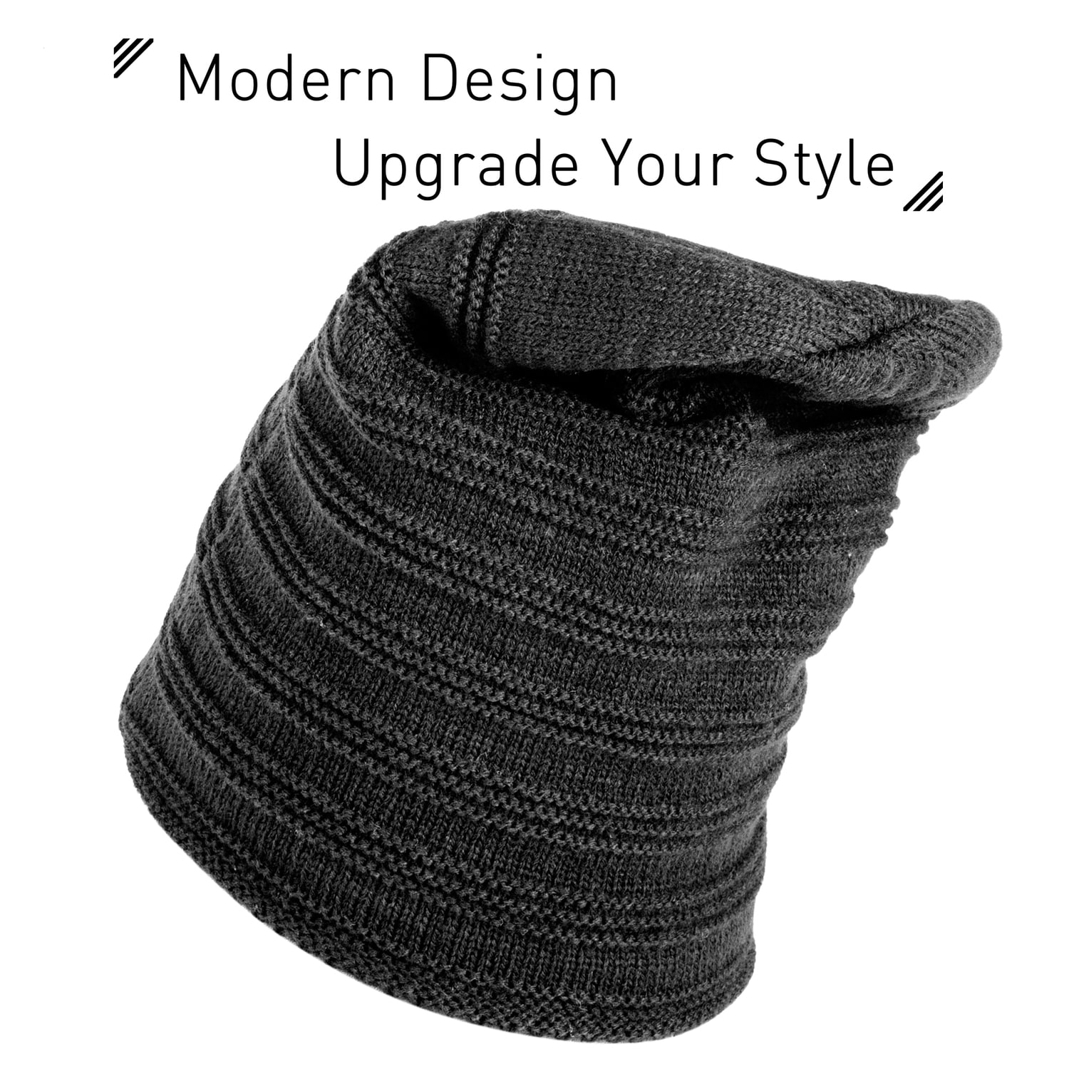 1589bc183 Zodaca Unisex Winter Insulated Warm Thick Cable Knit Baggy Beanie Knit Hat  Skull Cap with Plush-Filled Inside for Men and Women