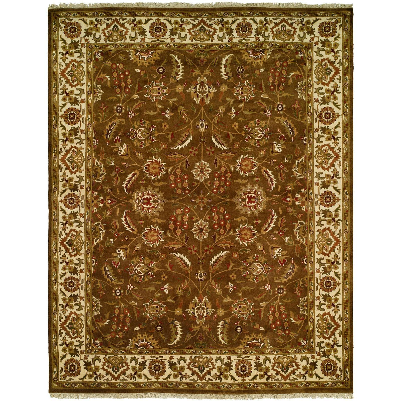 Lateef Earth Tones Ivory Wool Hand Knotted Formal Area Rug 6 Square 6 Square