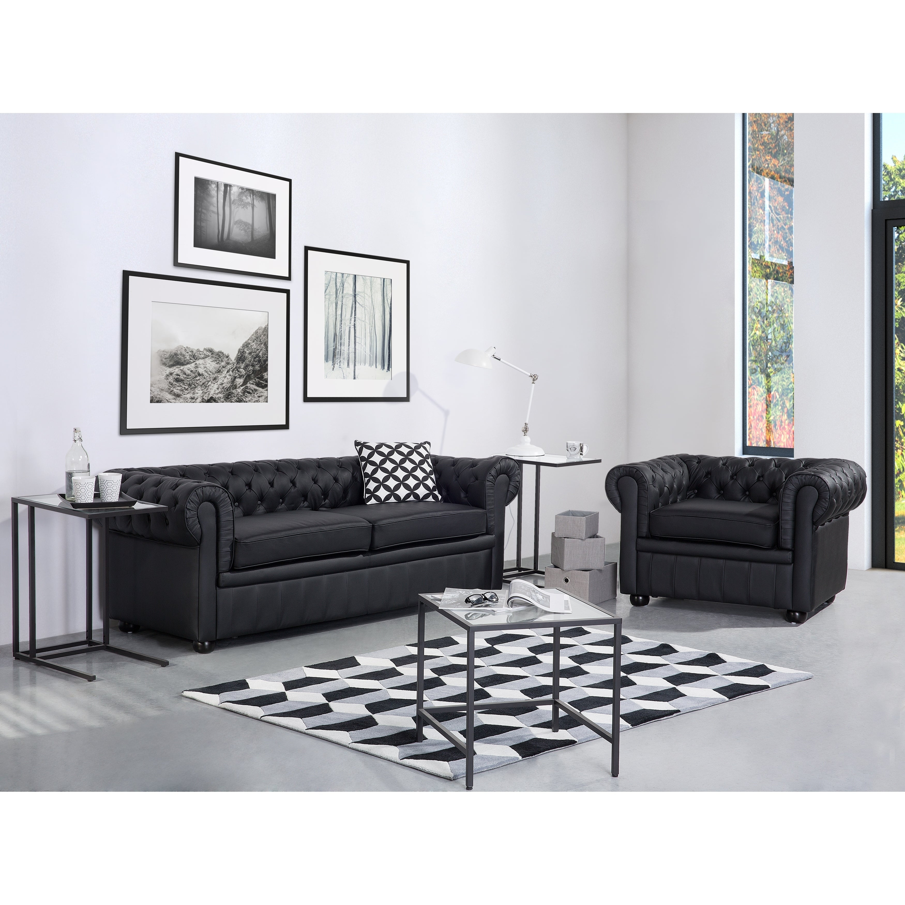 Shop Tufted Leather Sofa - Black CHESTERFIELD - Free Shipping Today ...