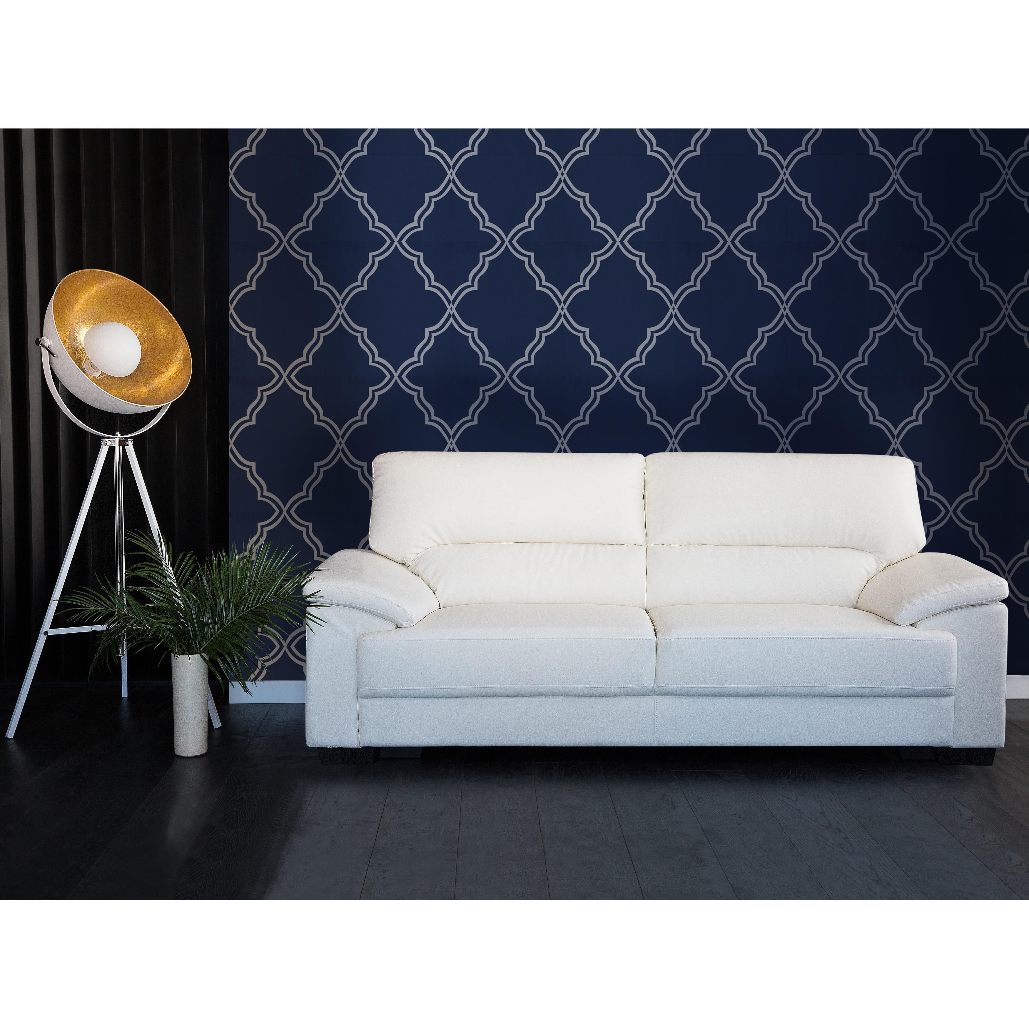 Shop Classic 3 Seater Leather Sofa - Cream VOGAR - Free Shipping ...